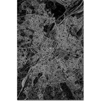 Stadtkarte Brussels XL   Aluminium Wanddekoration