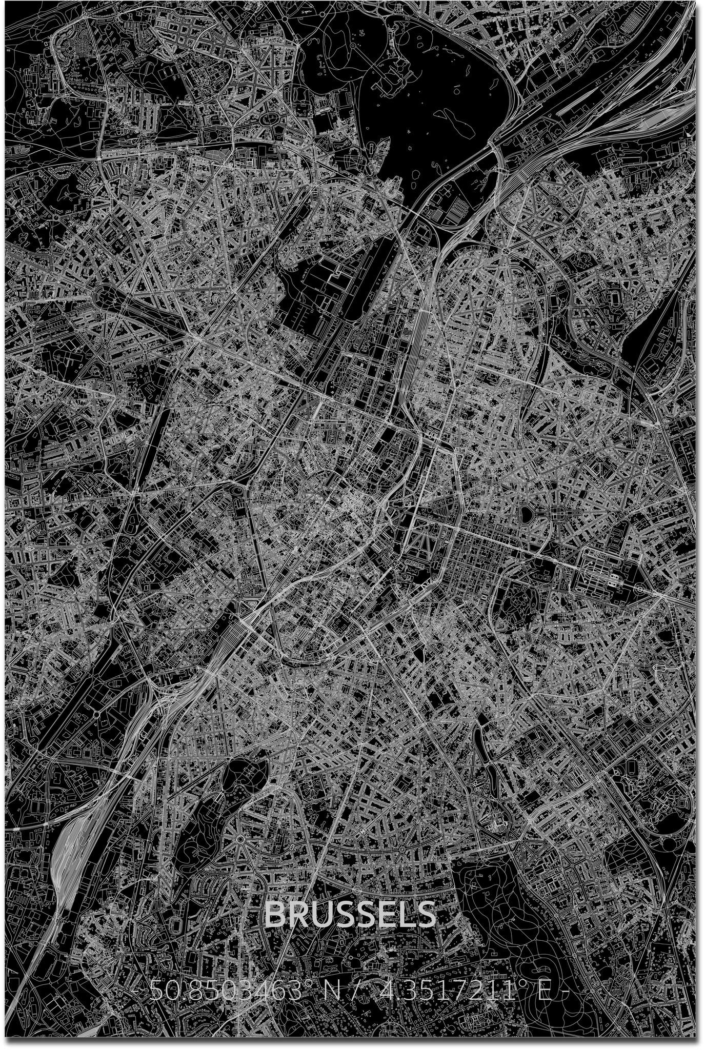 Citymap Brussel XL | Aluminium wanddecoratie-1