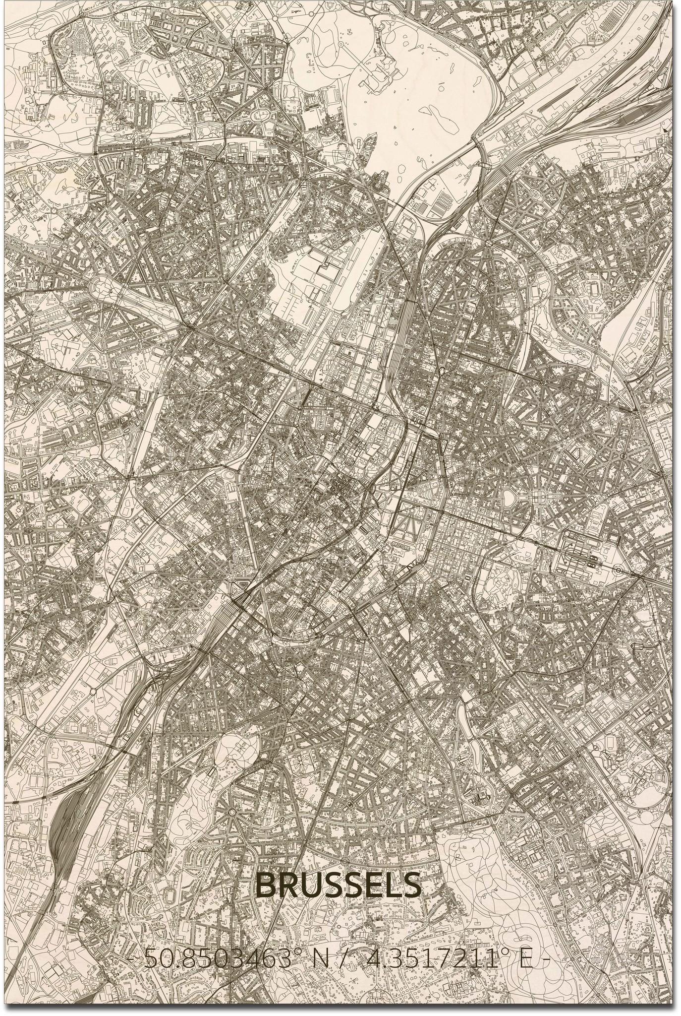 Citymap Brussel XL | Houten wanddecoratie-1