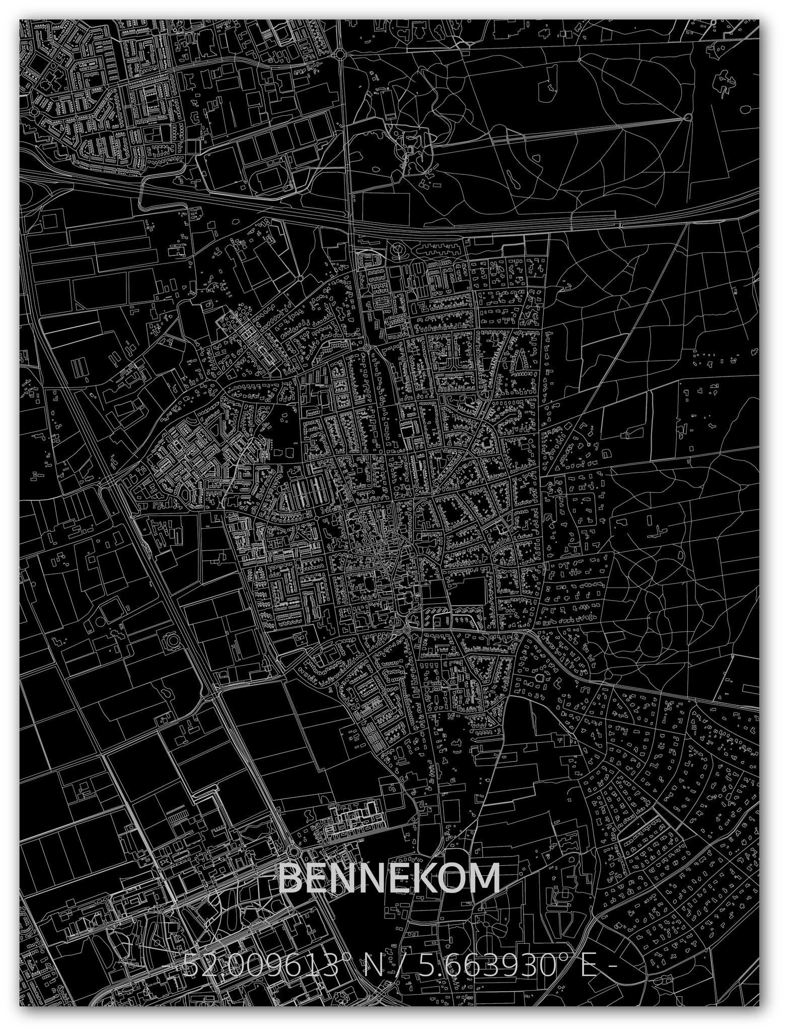Citymap Bennekom | Aluminium wanddecoratie-1