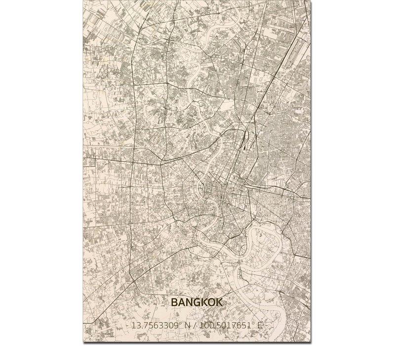 Wooden wall decoration Citymap Bangkok XL
