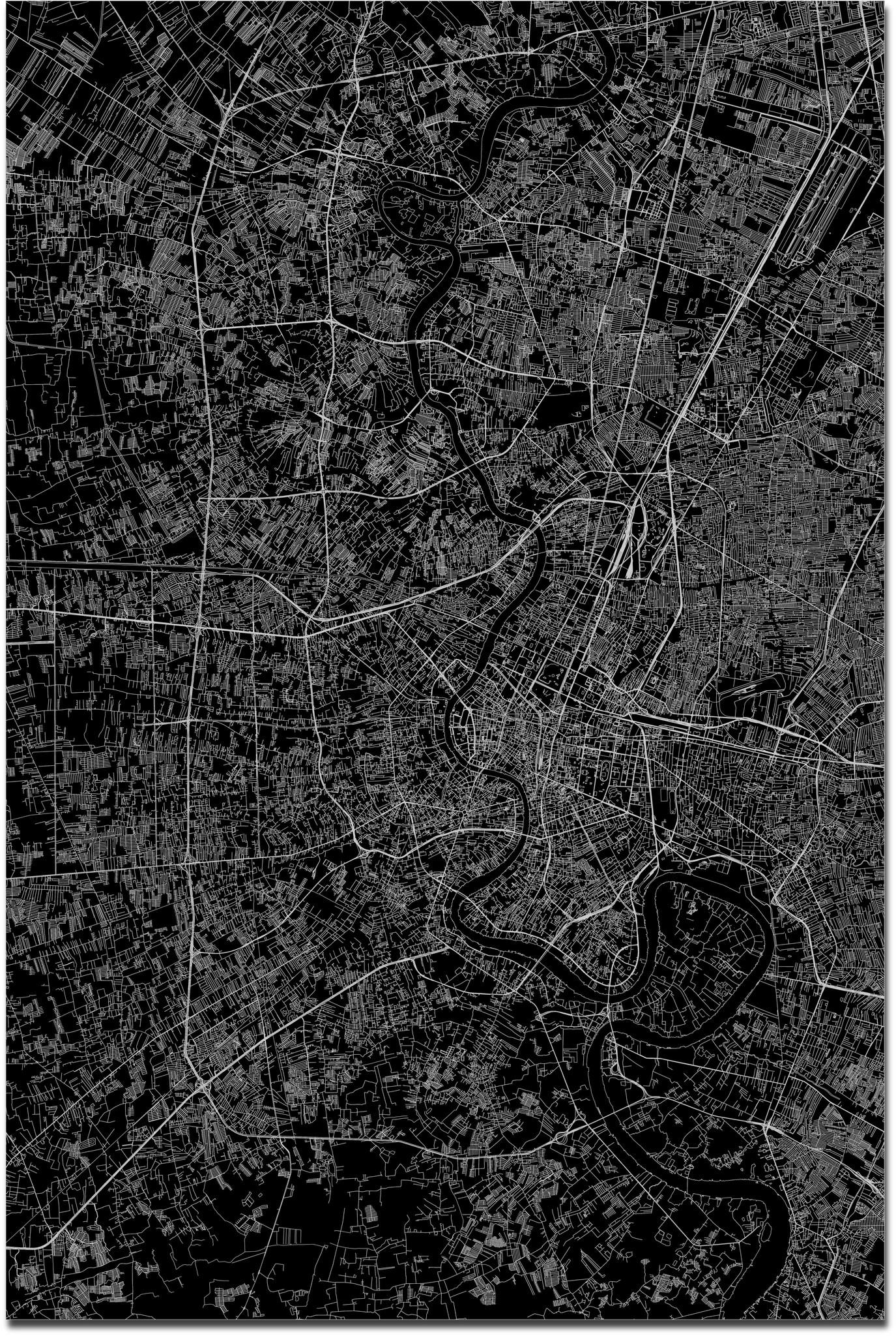 Stadtkarte Bangkok XL | Aluminium Wanddekoration-3