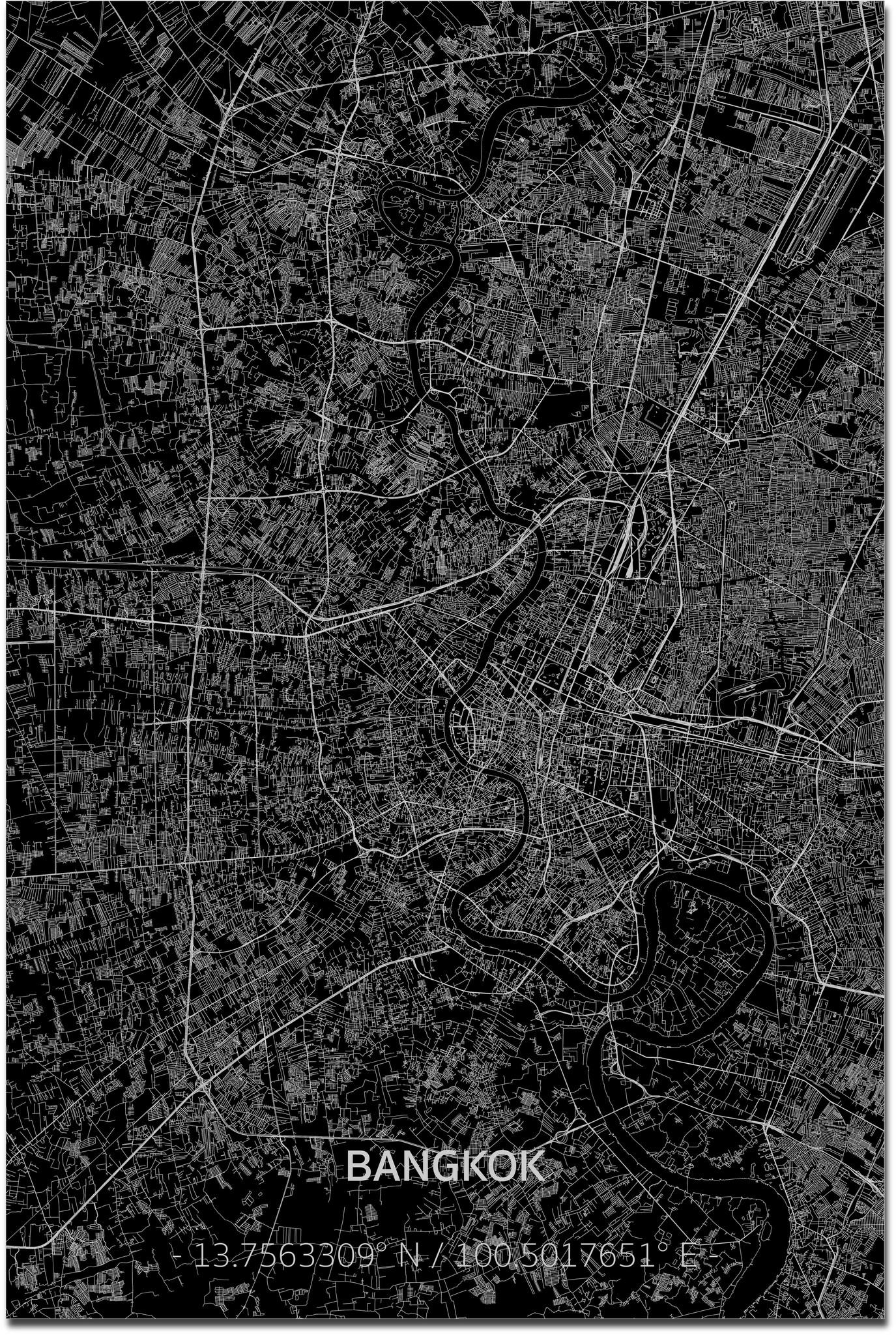 Stadtkarte Bangkok XL | Aluminium Wanddekoration-1