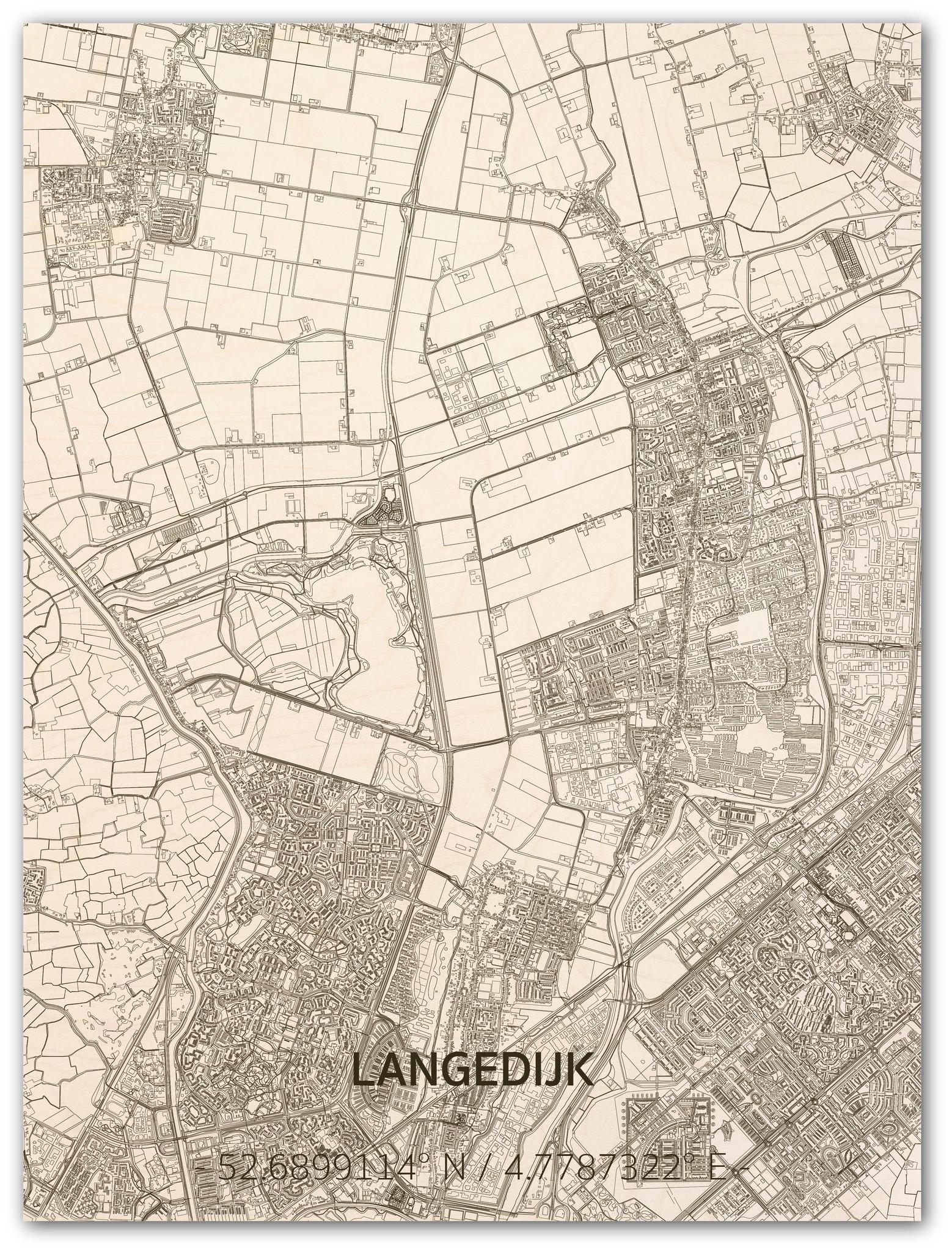 Stadtplan Langedijk | Wanddekoration Holz-1