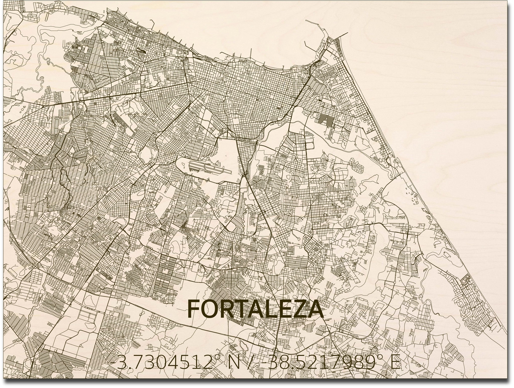 Citymap Fortaleza | houten wanddecoratie-3