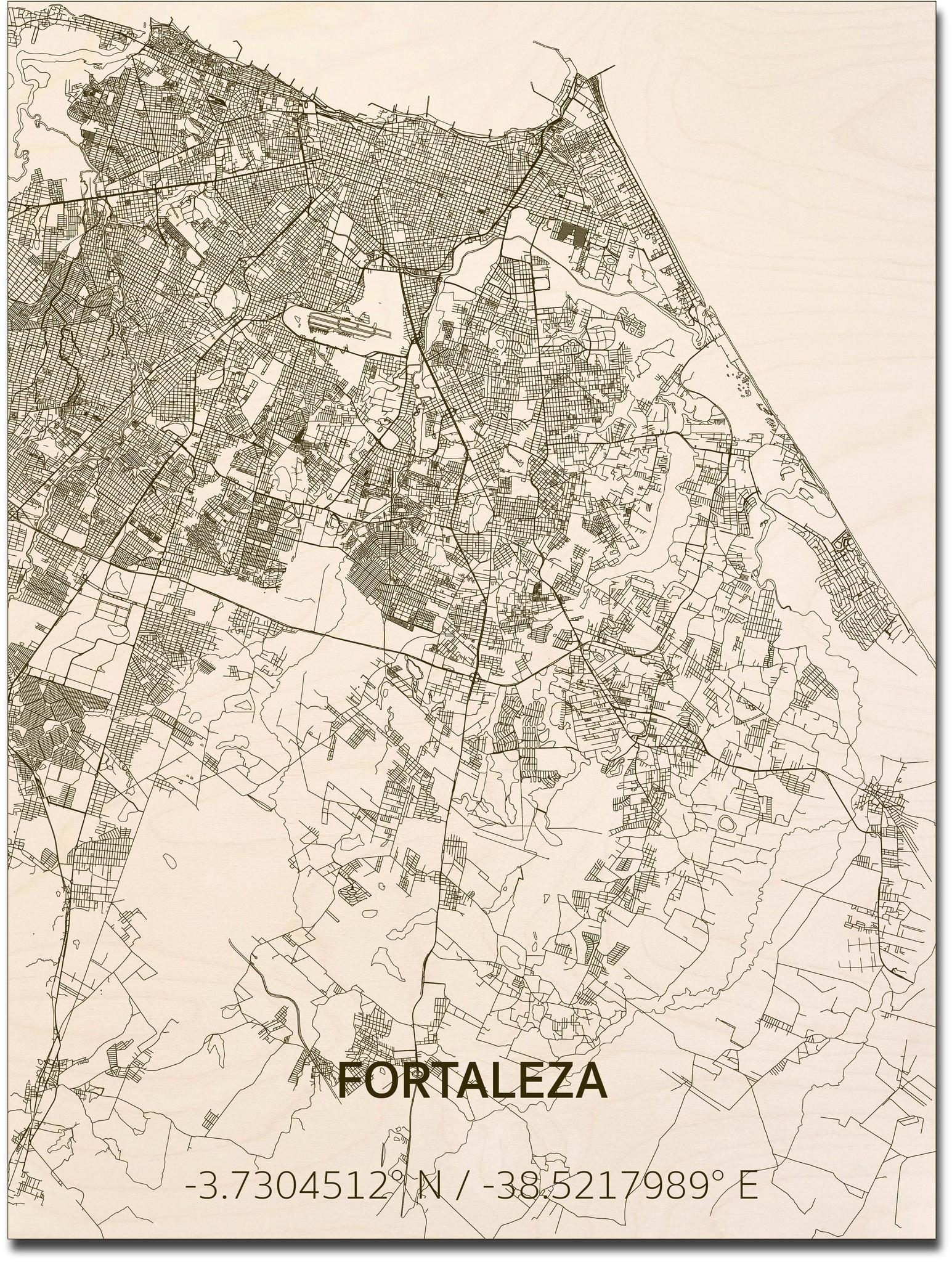 Citymap Fortaleza | houten wanddecoratie-1
