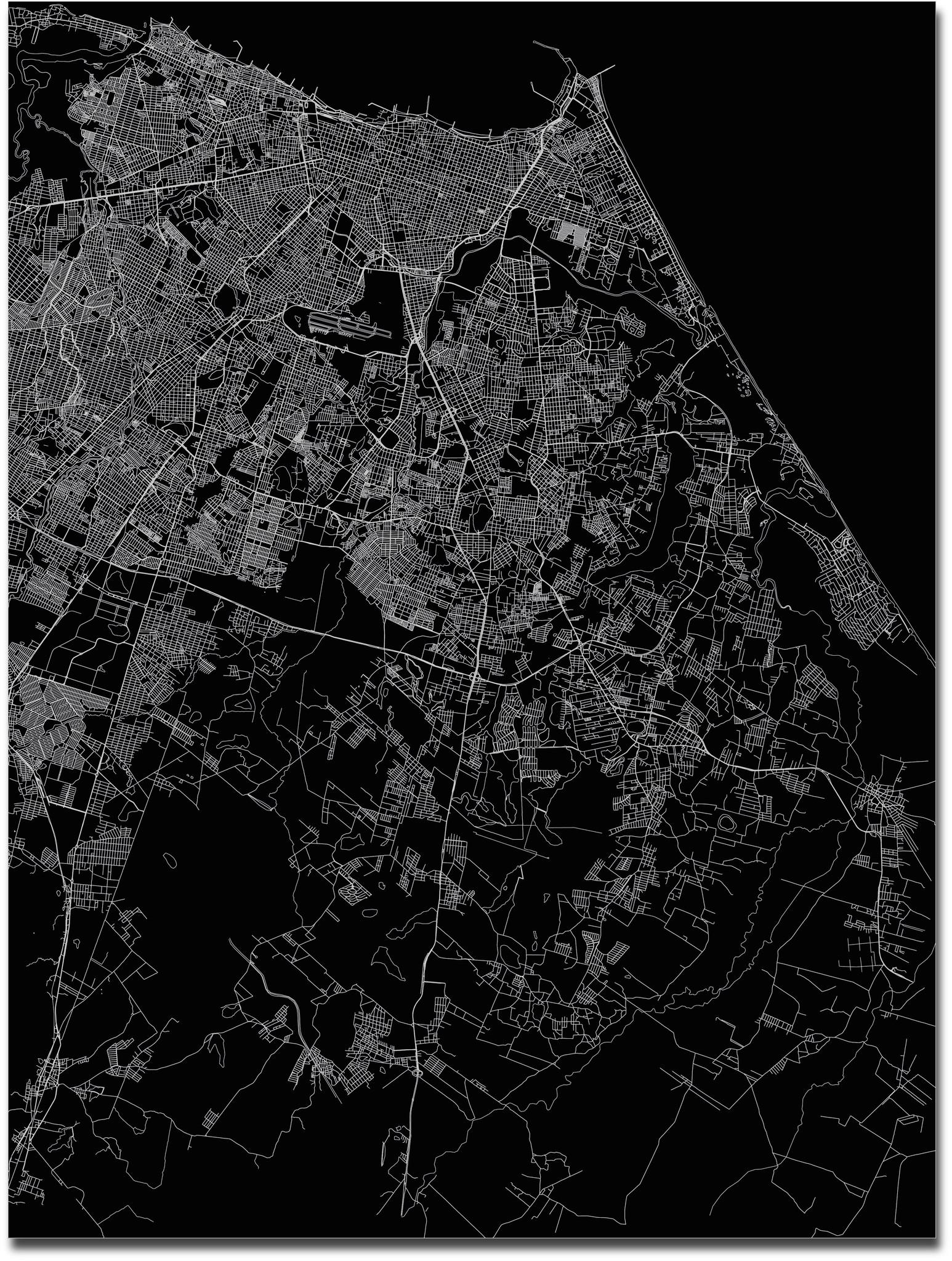 Citymap Fortaleza | Aluminium wanddecoratie-3