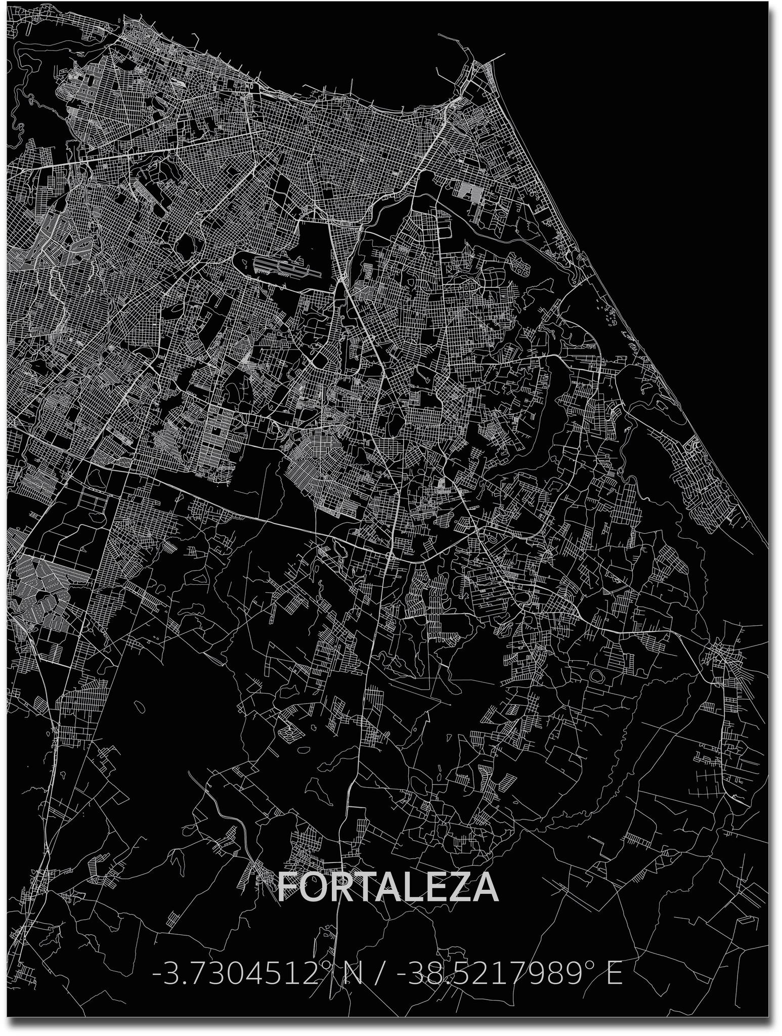 Citymap Fortaleza | Aluminium wanddecoratie-1
