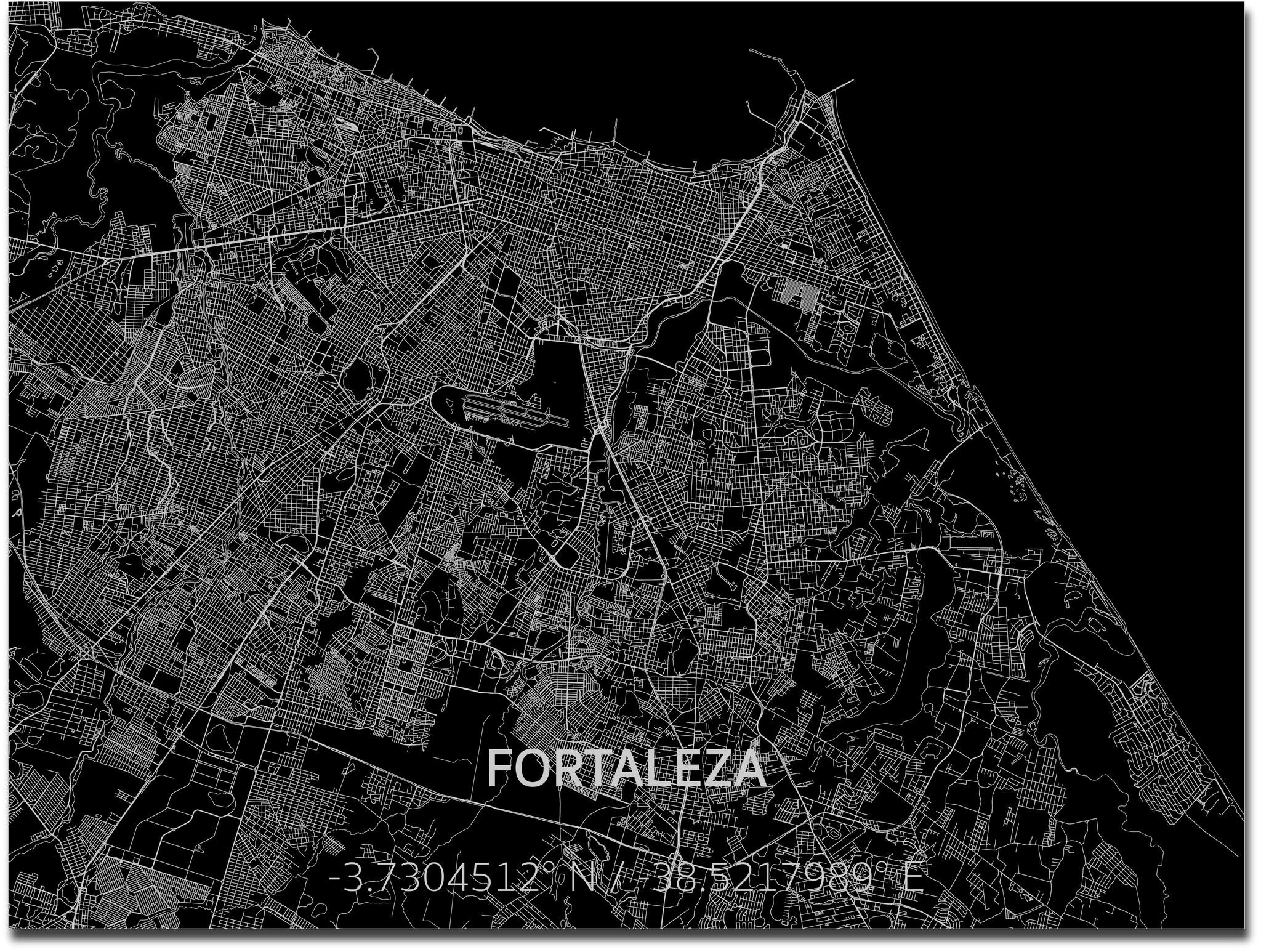 Citymap Fortaleza | Aluminium wanddecoratie-4