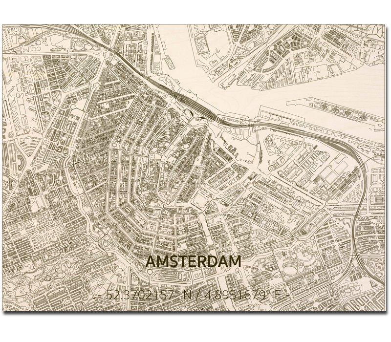 Citymap Amsterdam | houten wanddecoratie
