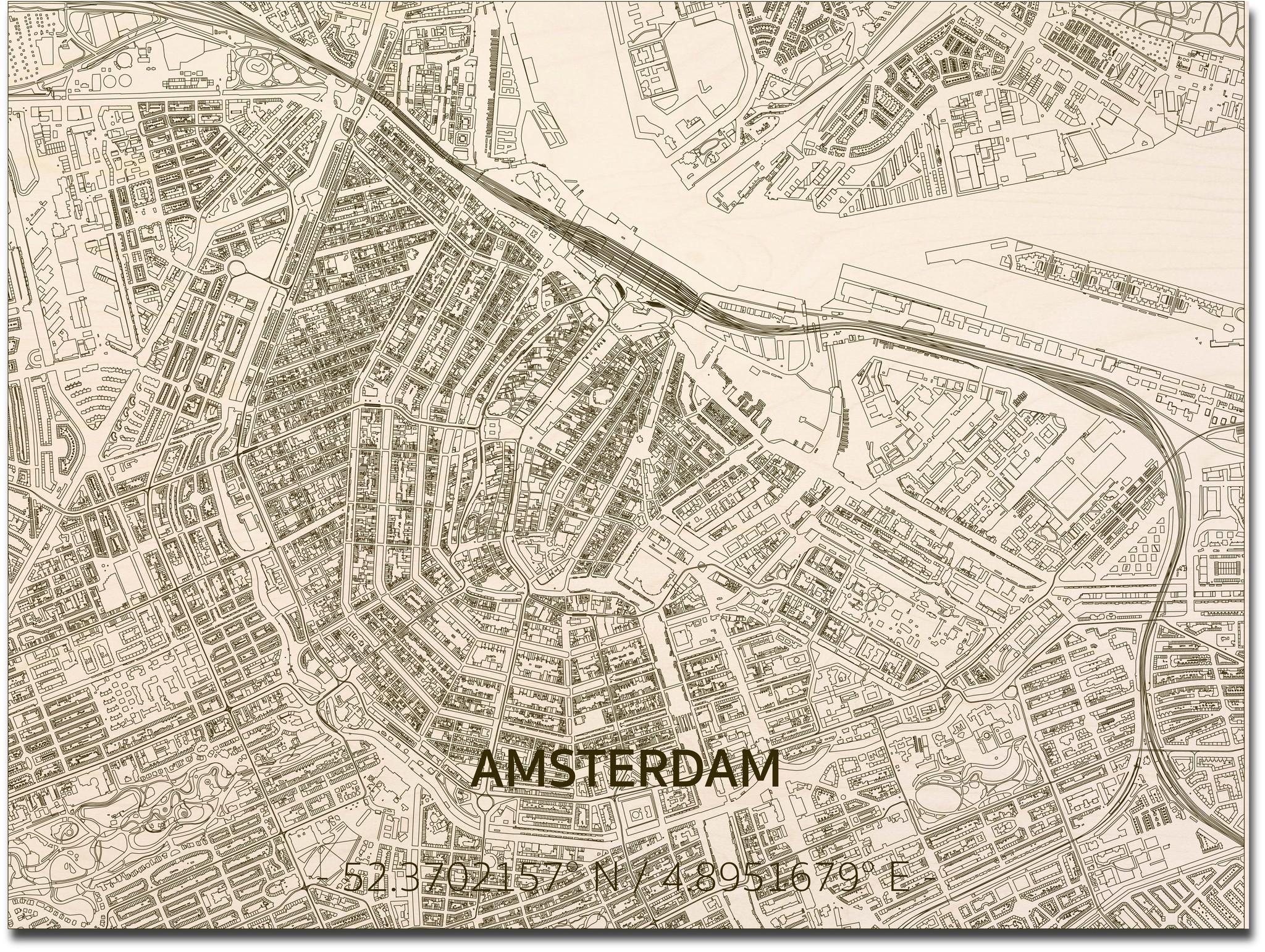 Wall decoration Citymap Amsterdam | Wooden wall panel-3