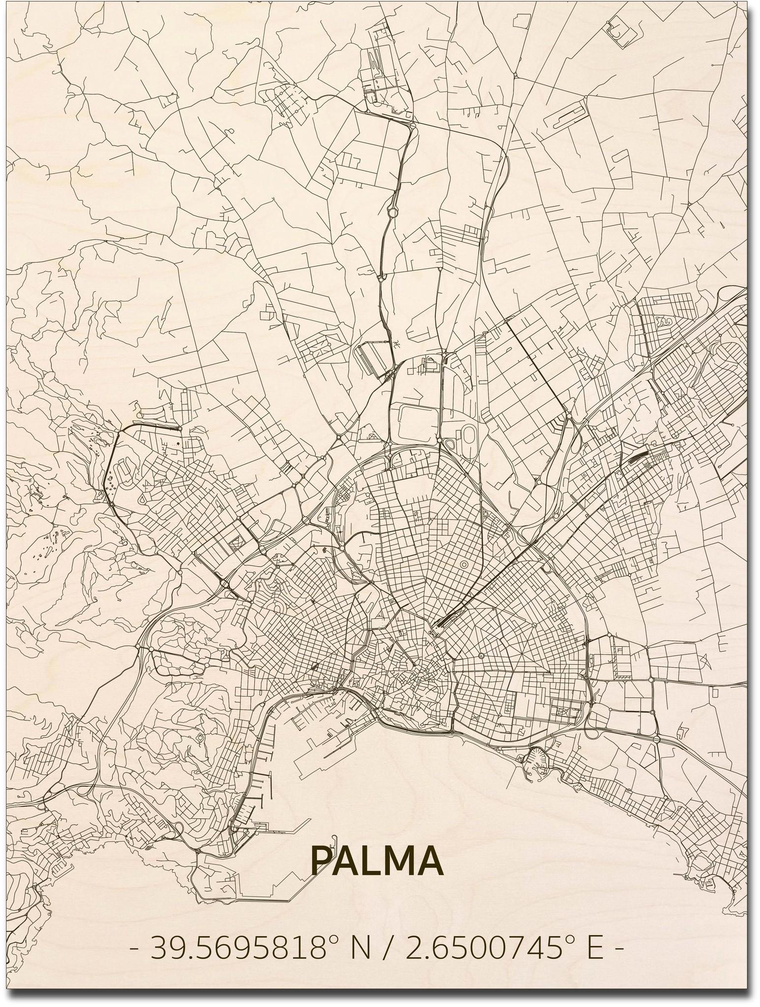 Stadtplan Palma | Wanddekoration Holz-1
