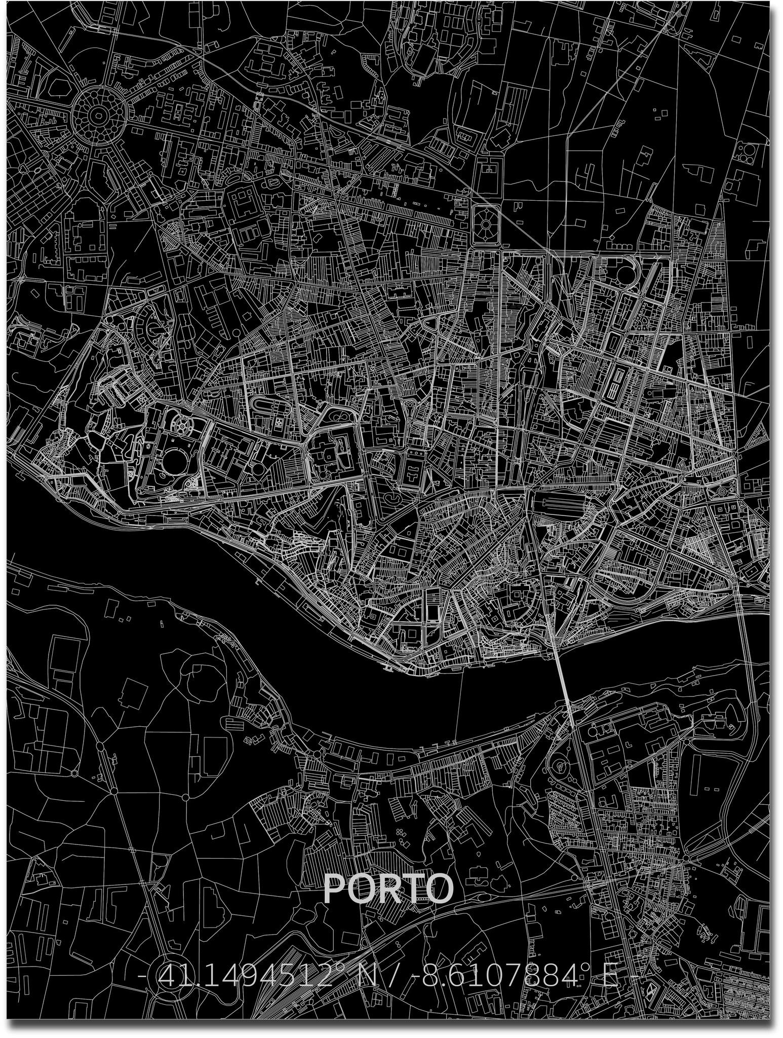 Stadtkarte Porto | Aluminium Wanddekoration-1