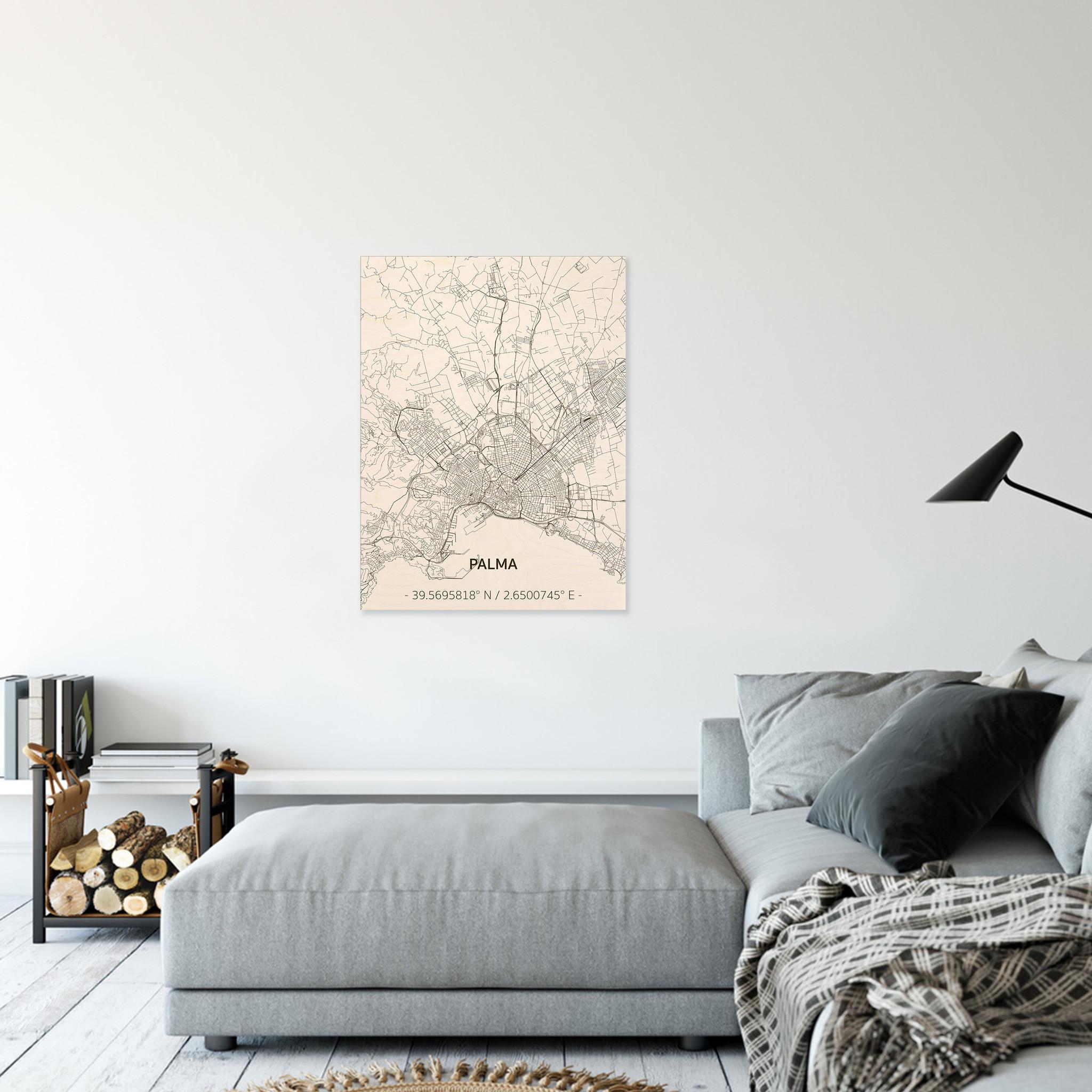 Stadtplan Palma | Wanddekoration Holz-2