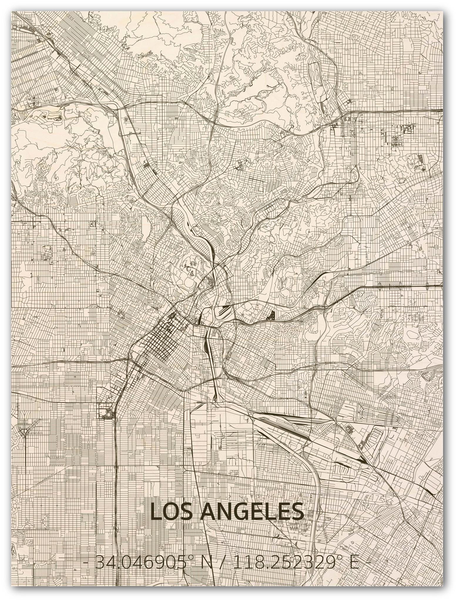 WOODEN WALL DECORATION LOS ANGELES CITYMAP-1
