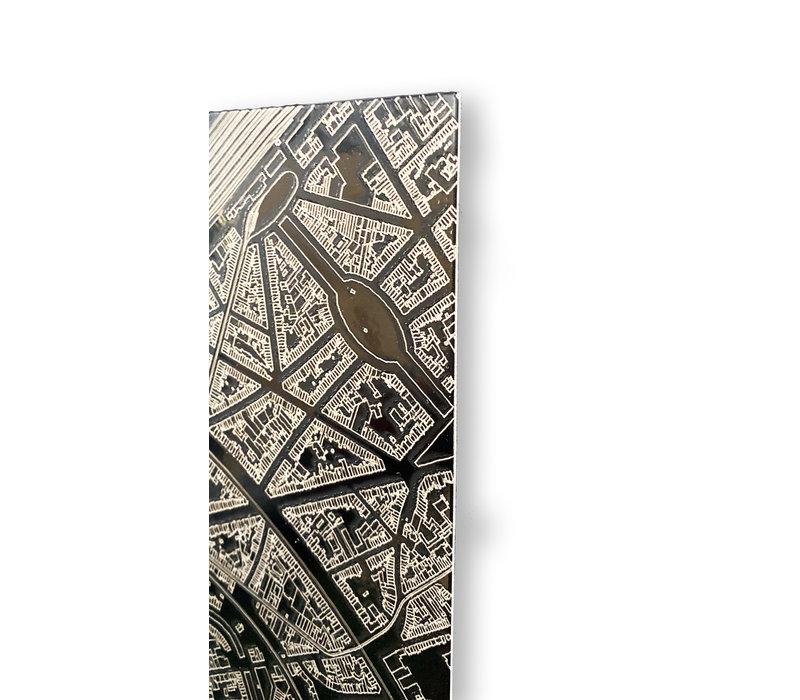 Stadtkarte Miami | Aluminium Wanddekoration