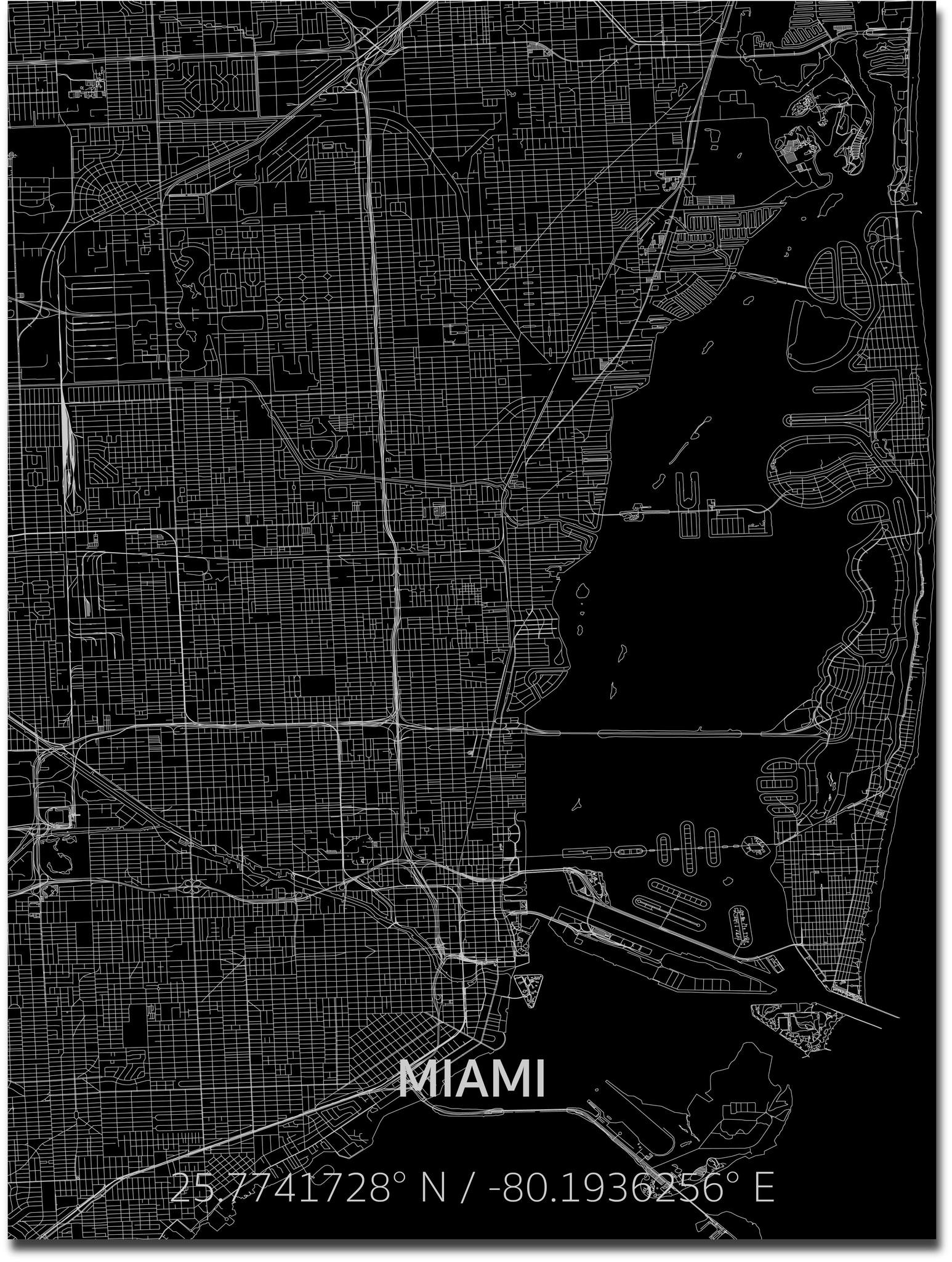 Citymap Miami | Aluminium wanddecoratie-1