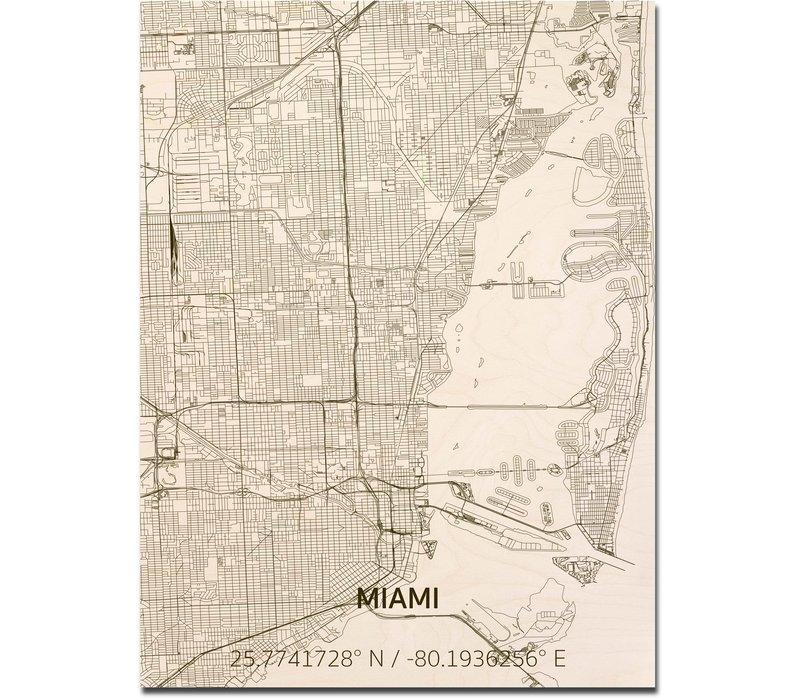 Stadtplan Miami   Wanddekoration Holz