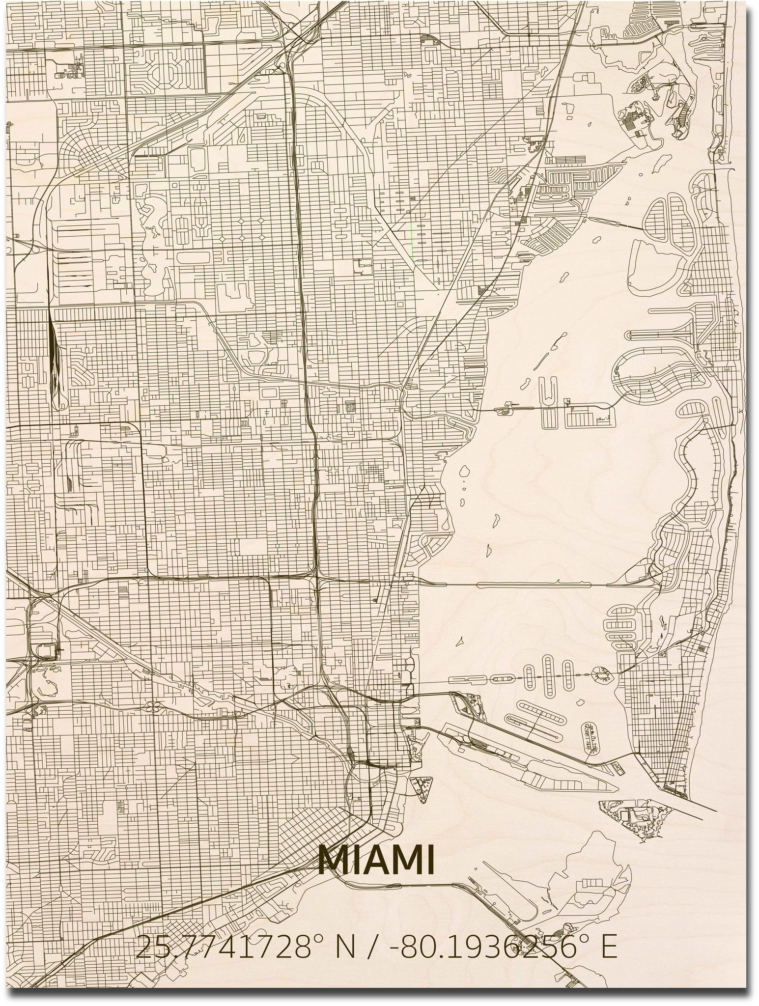 Citymap Miami | wooden wall decoration-1