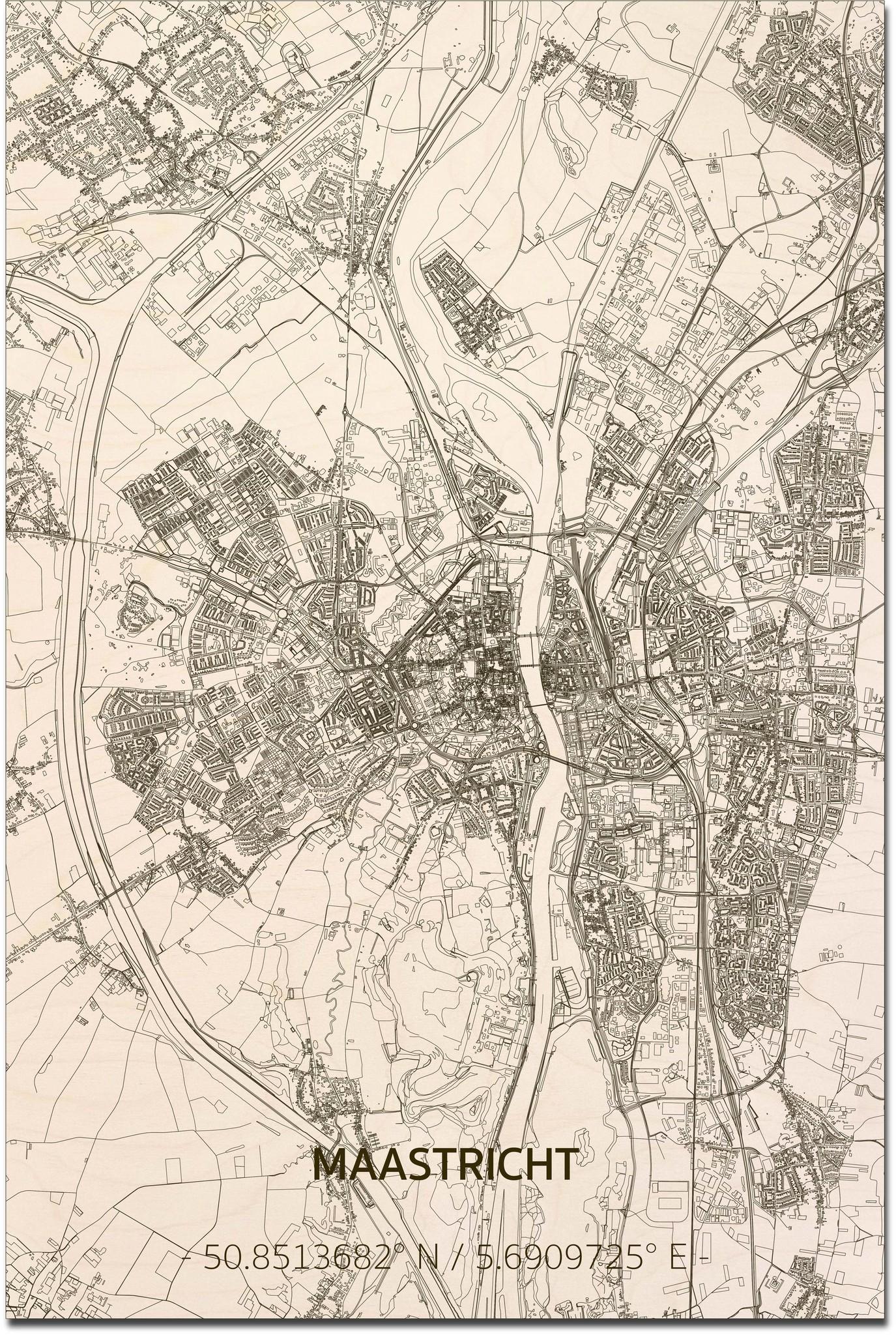 Wooden wall decoration Citymap Maastricht XL-1