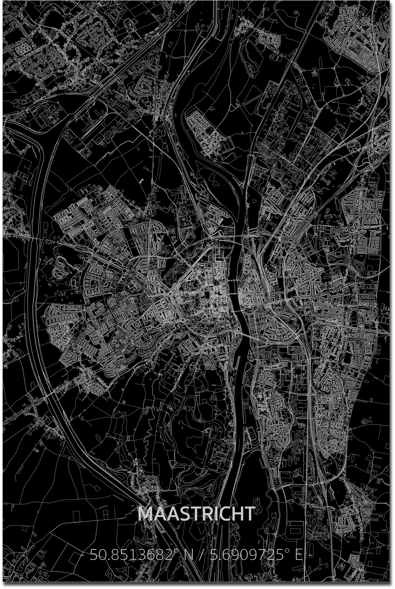 Citymap Maastricht XL | Aluminum wall decoration-1