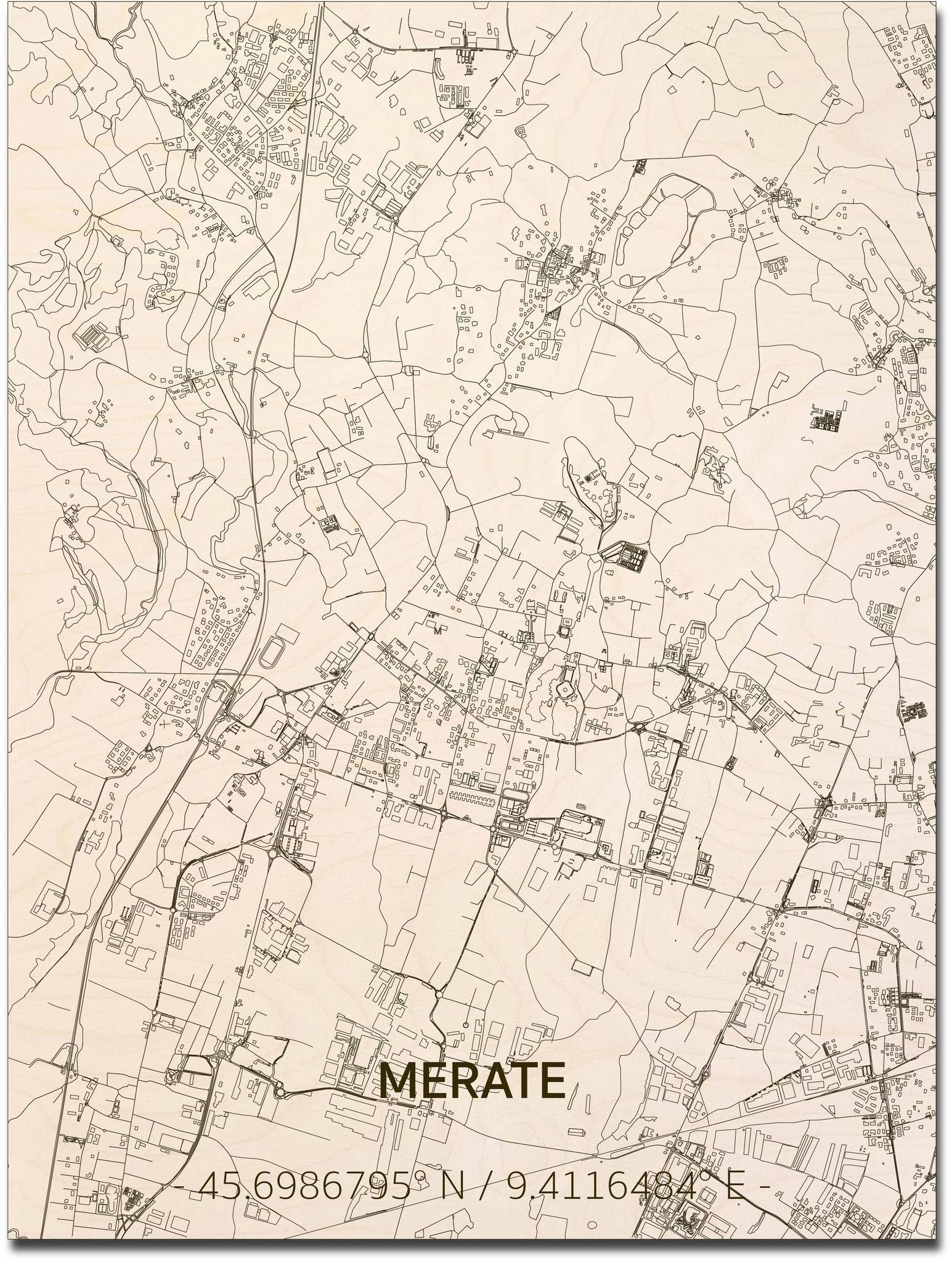 Stadtplan Merate | Wanddekoration Holz-1