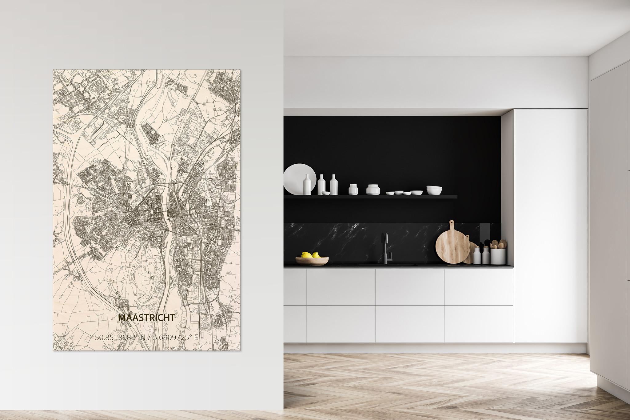 Wooden wall decoration Citymap Maastricht XL-2