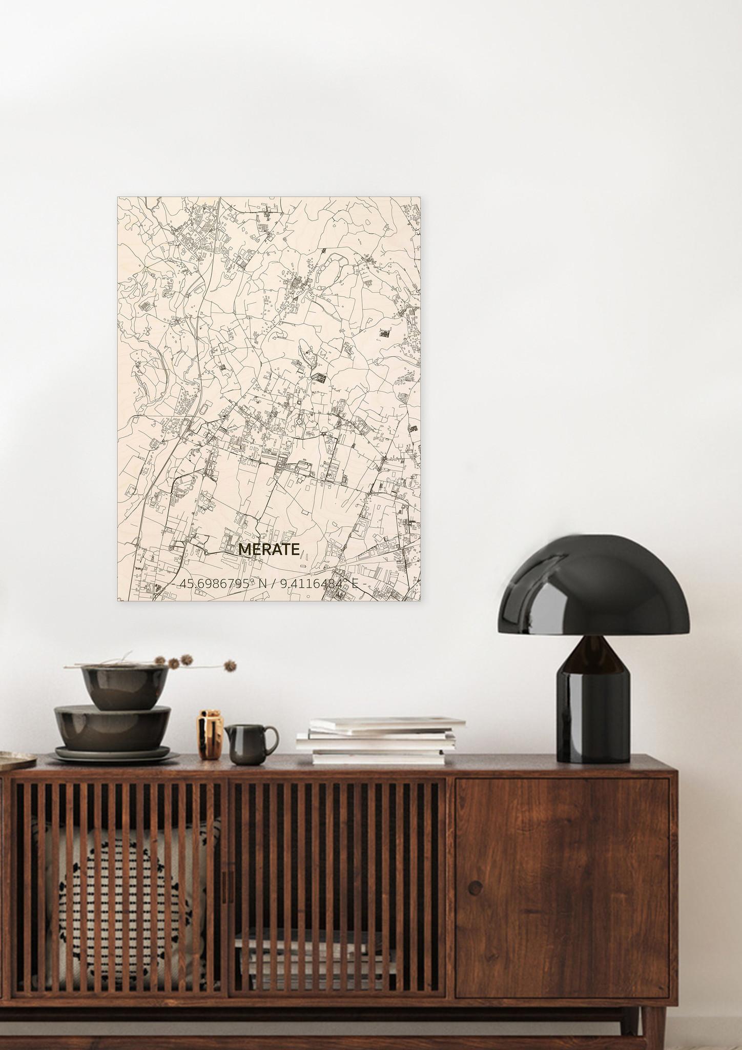 Stadtplan Merate | Wanddekoration Holz-2