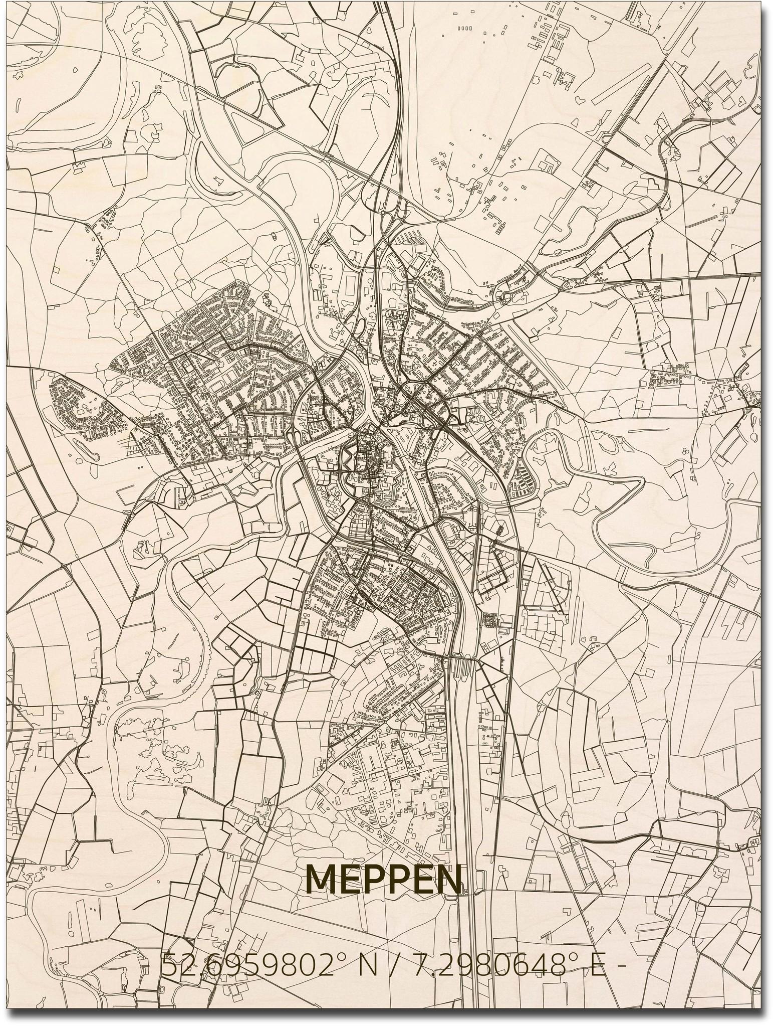 Stadtplan Meppen | Wanddekoration Holz-1