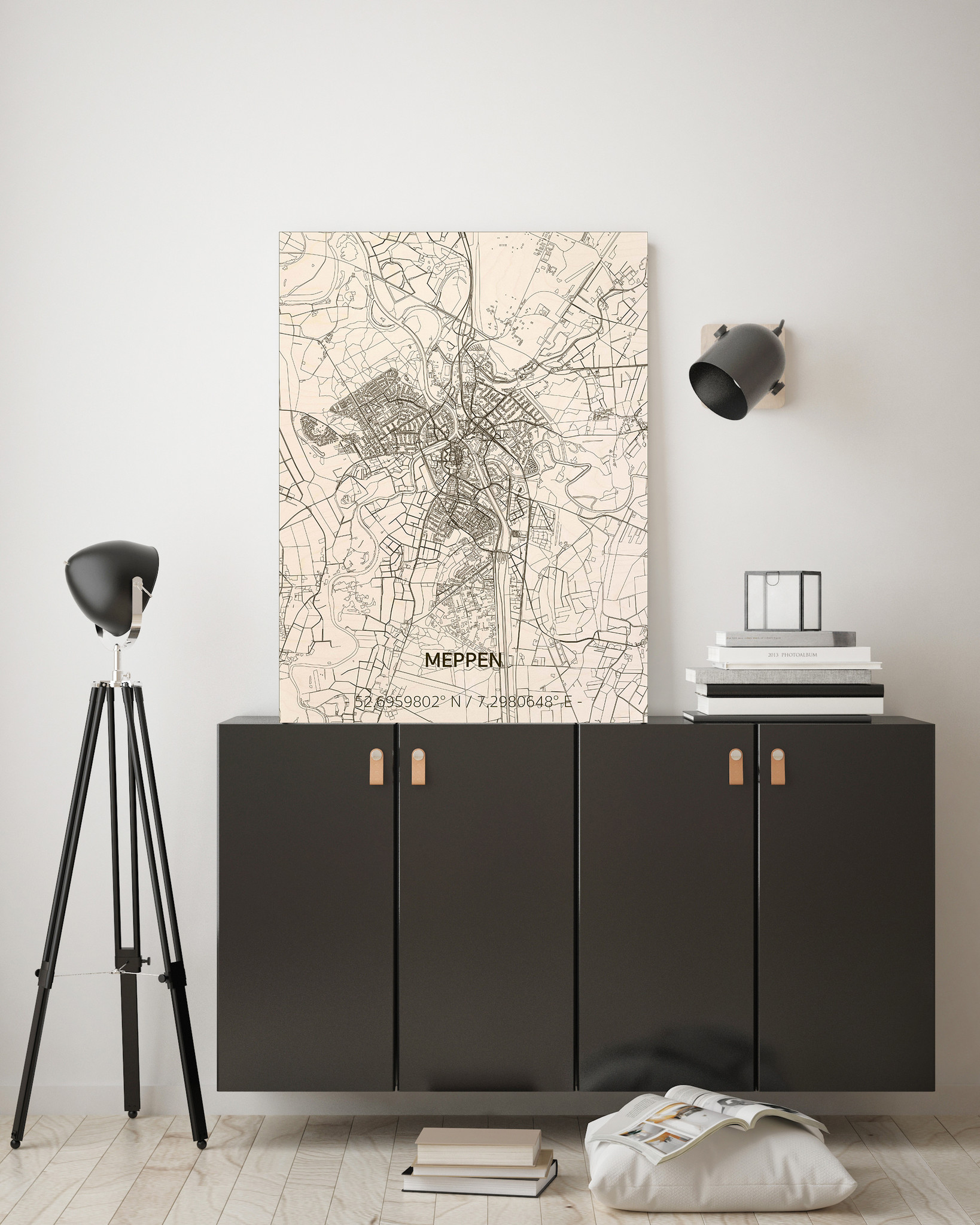 Stadtplan Meppen | Wanddekoration Holz-2