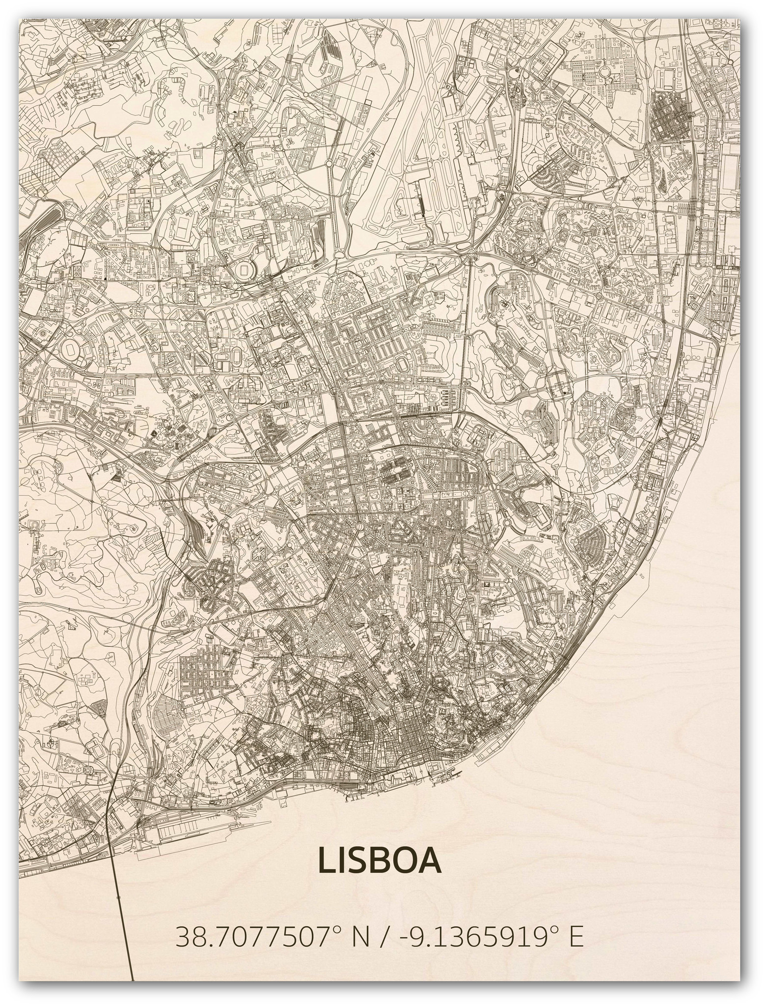 Citymap Lisbon | wooden wall decoration-1