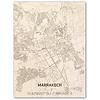 Stadtplan Marrakech | Wanddekoration Holz