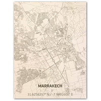 Citymap Marrakesh   houten wanddecoratie