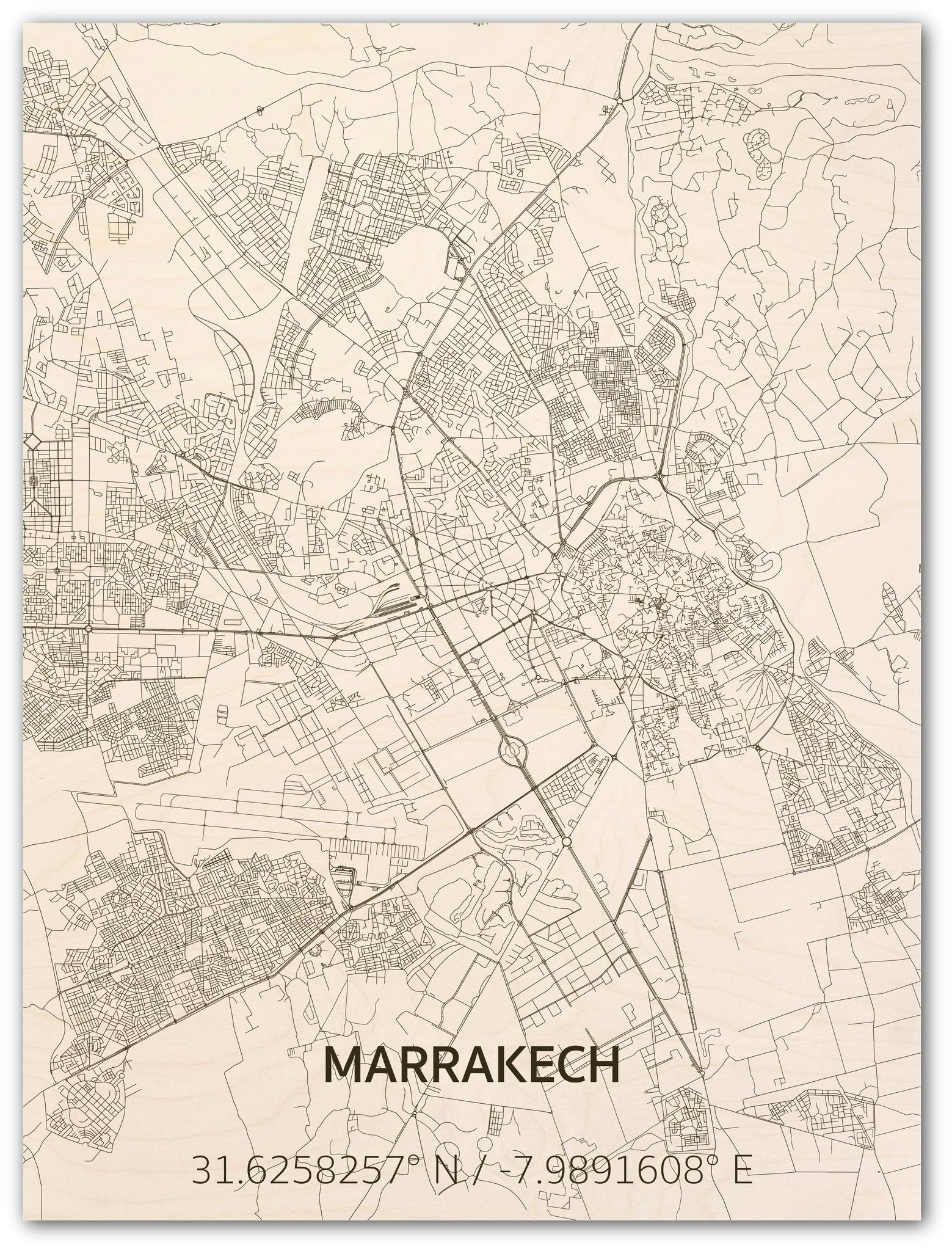 Stadtplan Marrakech | Wanddekoration Holz-1