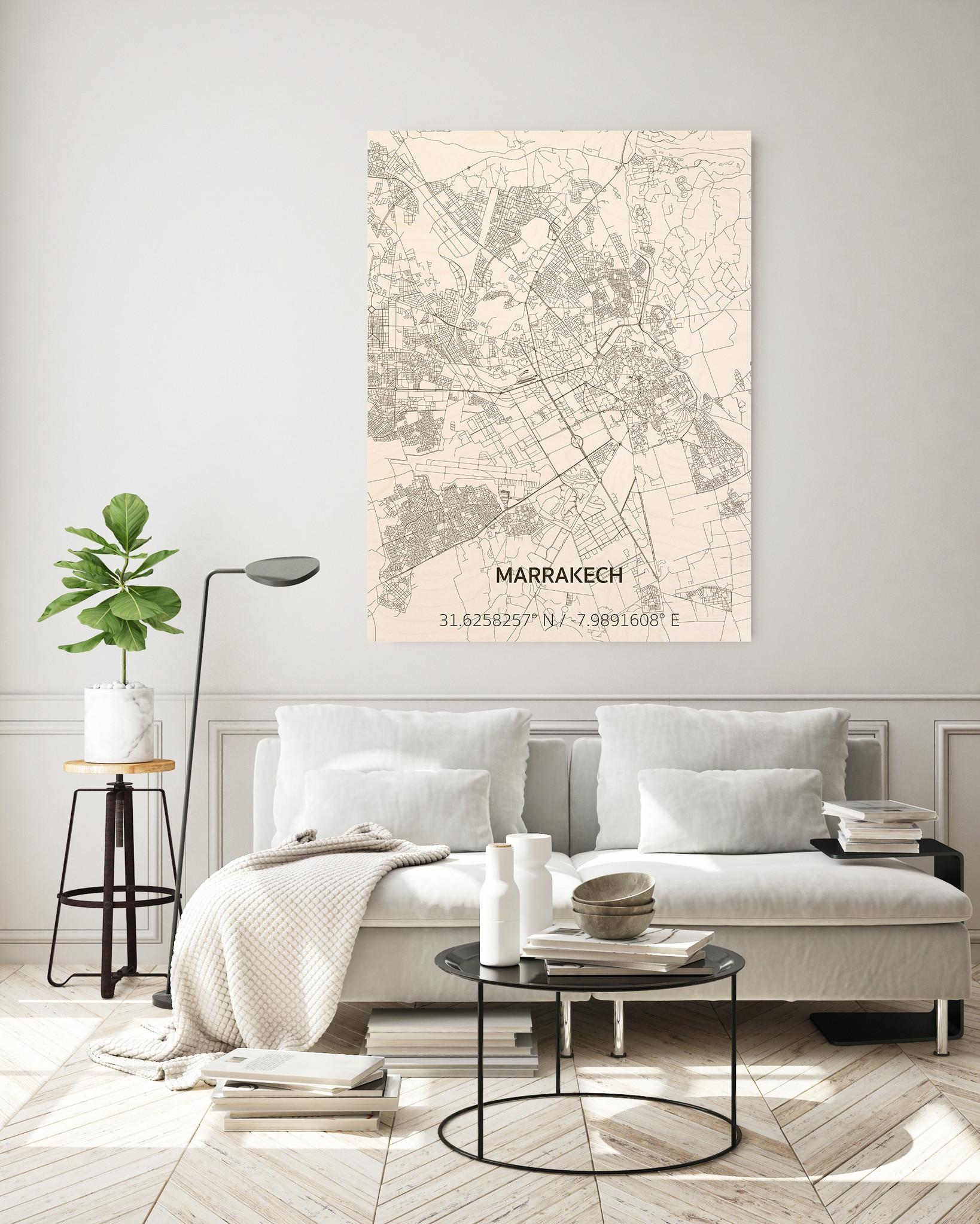 Stadtplan Marrakech | Wanddekoration Holz-2