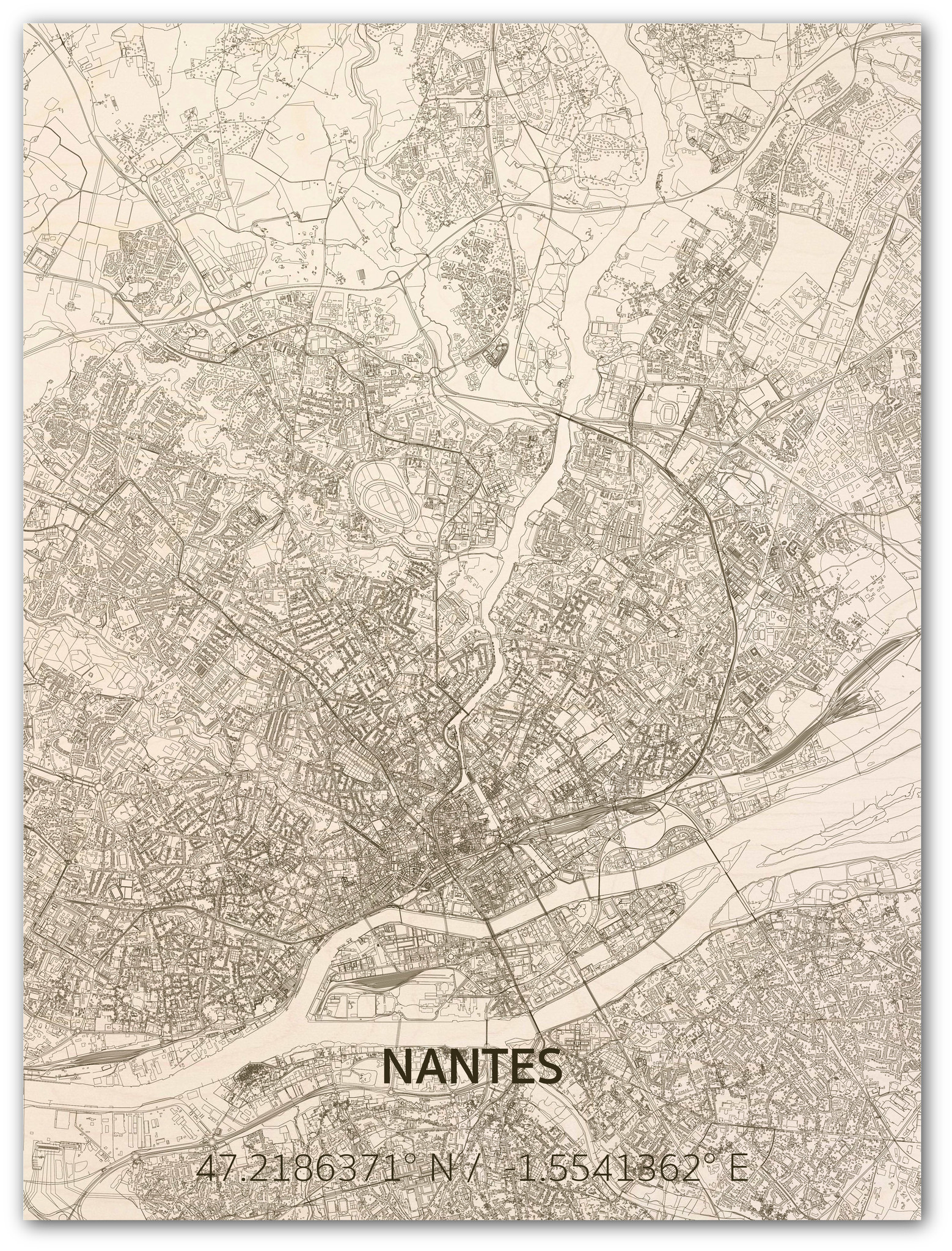 Citymap Nantes | wooden wall decoration-1