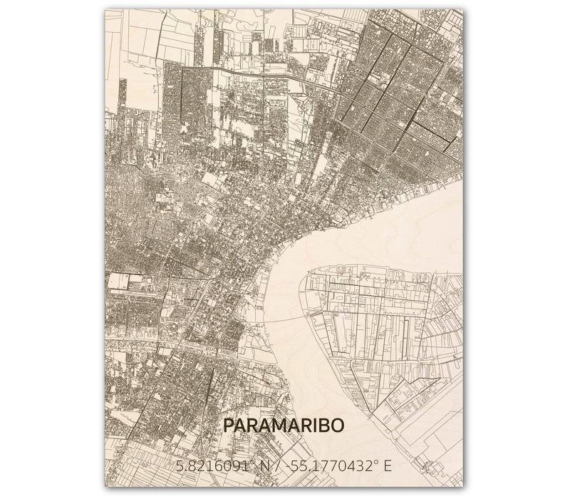 Citymap Paramaribo | houten wanddecoratie