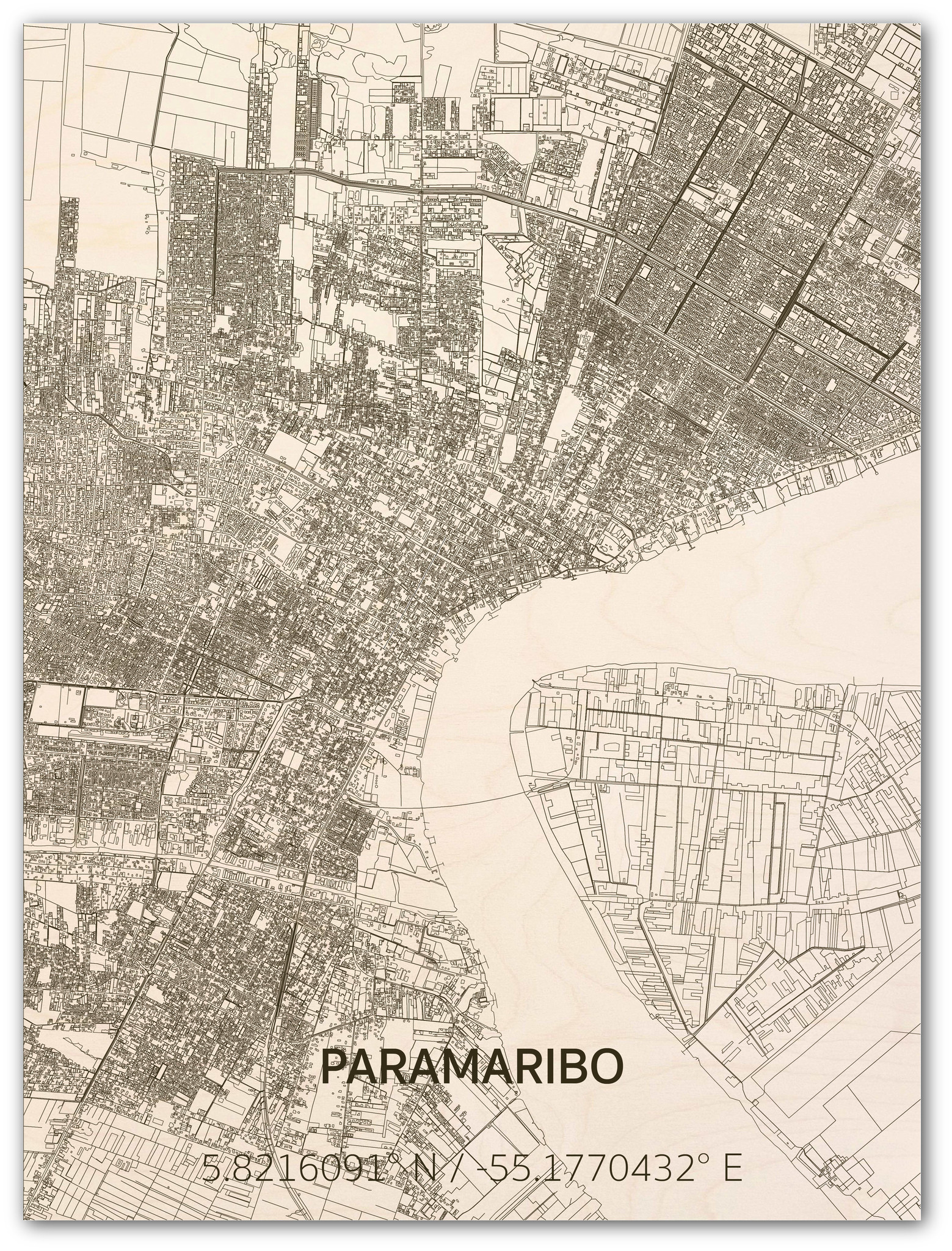 Citymap Paramaribo | wooden wall decoration-1