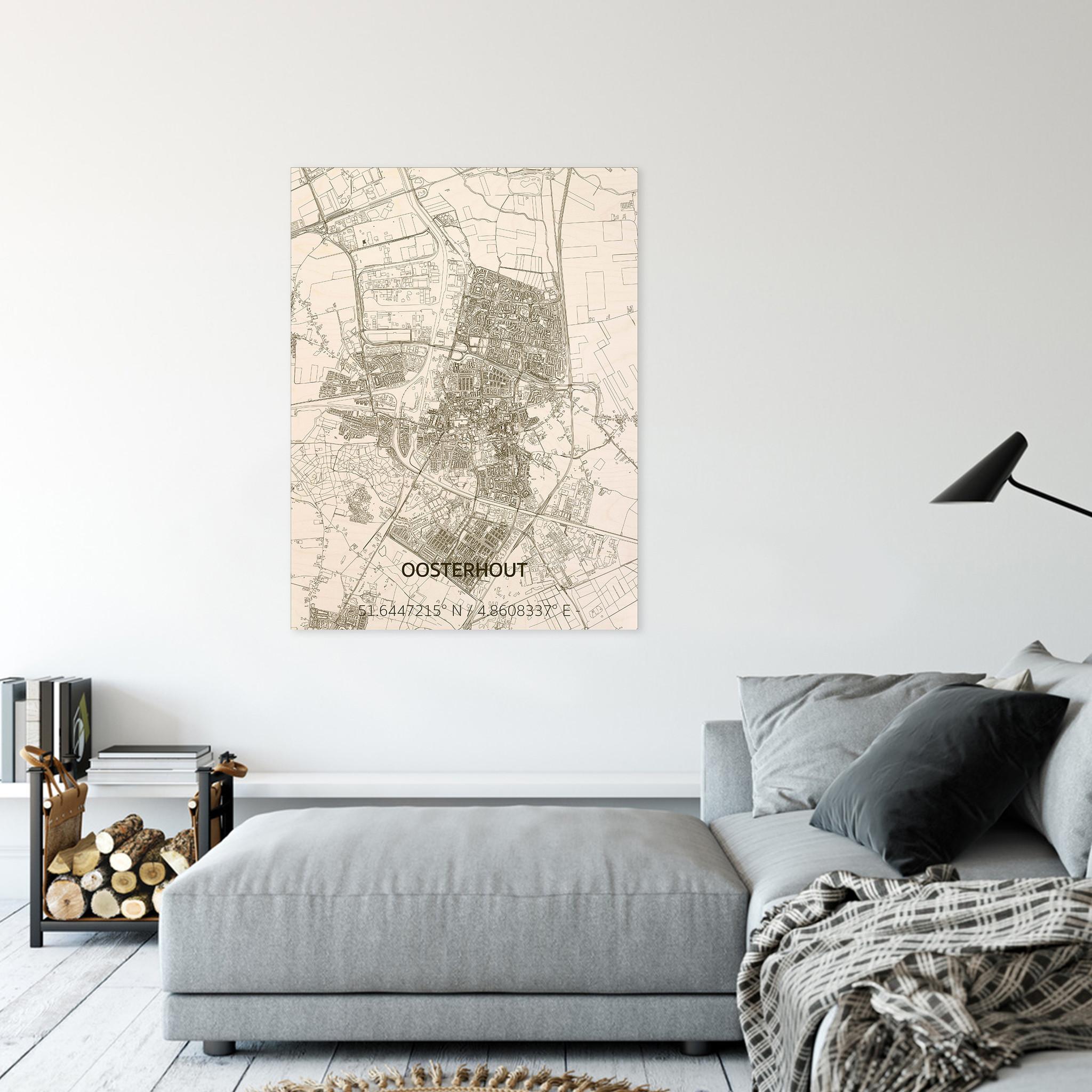 Stadtplan Oosterhout | Wanddekoration Holz-2