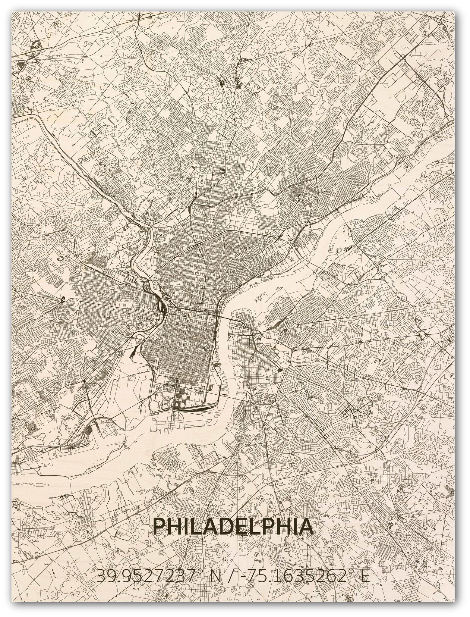 Stadtplan Philadelphia | Wanddekoration Holz-1