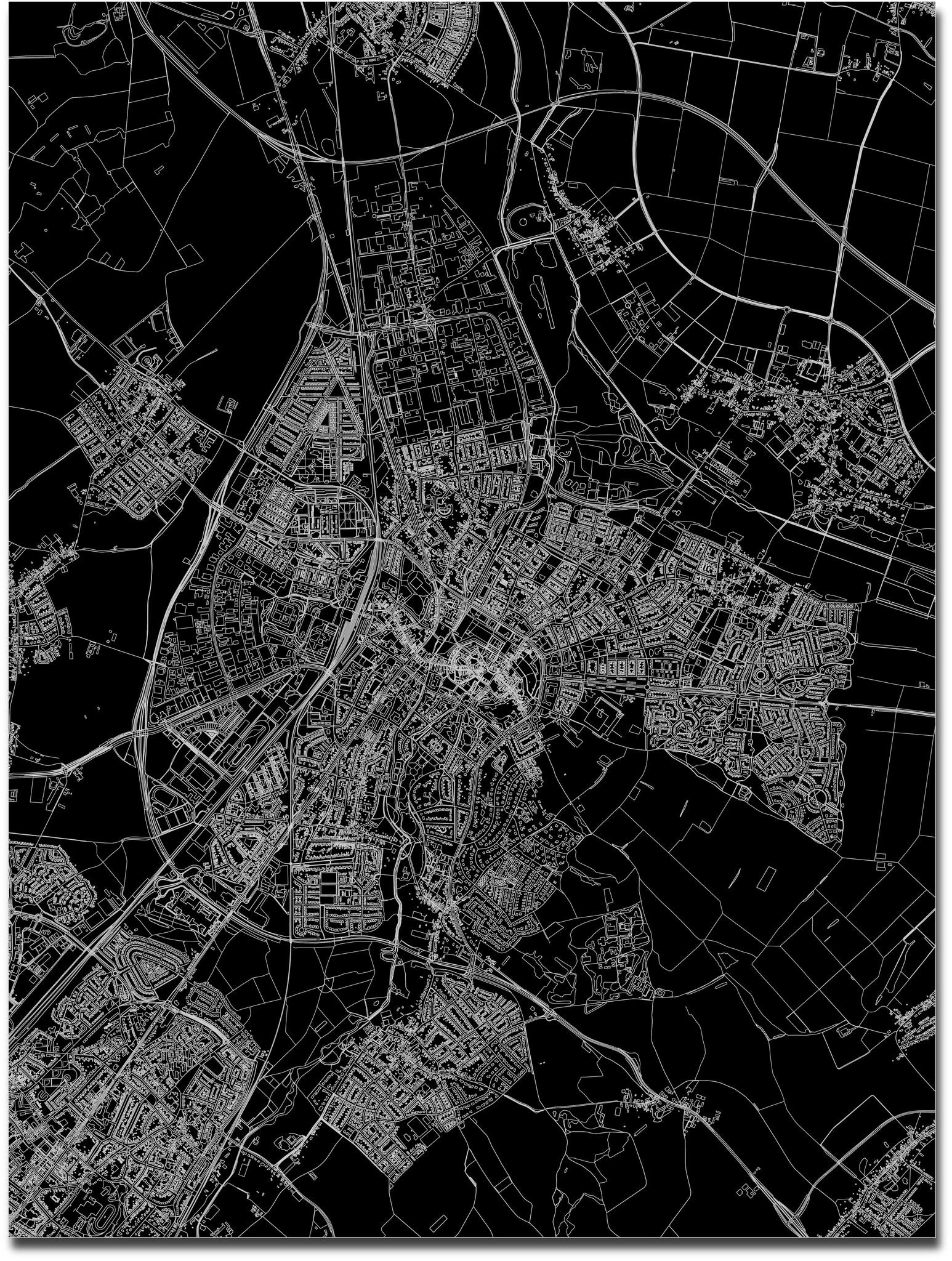 Stadtkarte Sittard | Aluminium Wanddekoration-3