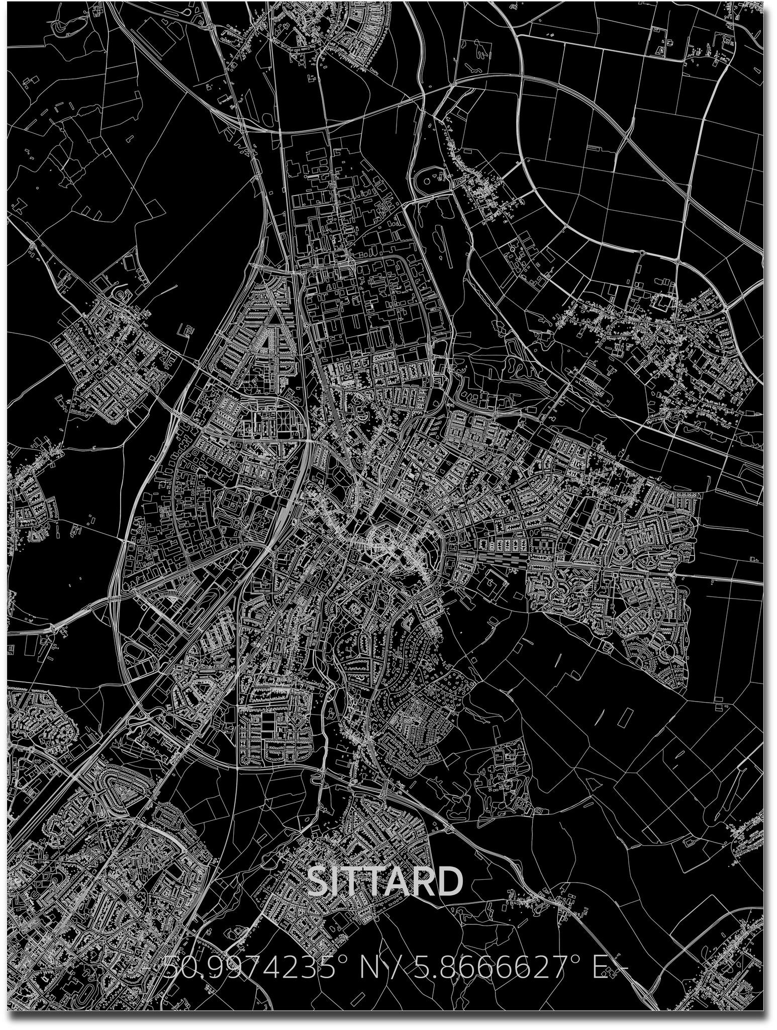 Stadtkarte Sittard | Aluminium Wanddekoration-1