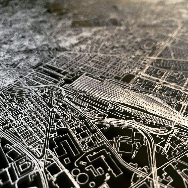 Citymap Hamburg | Aluminium wanddecoratie-5