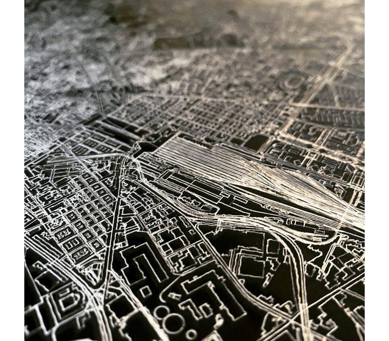 Citymap Frankfurt | Aluminium wanddecoratie