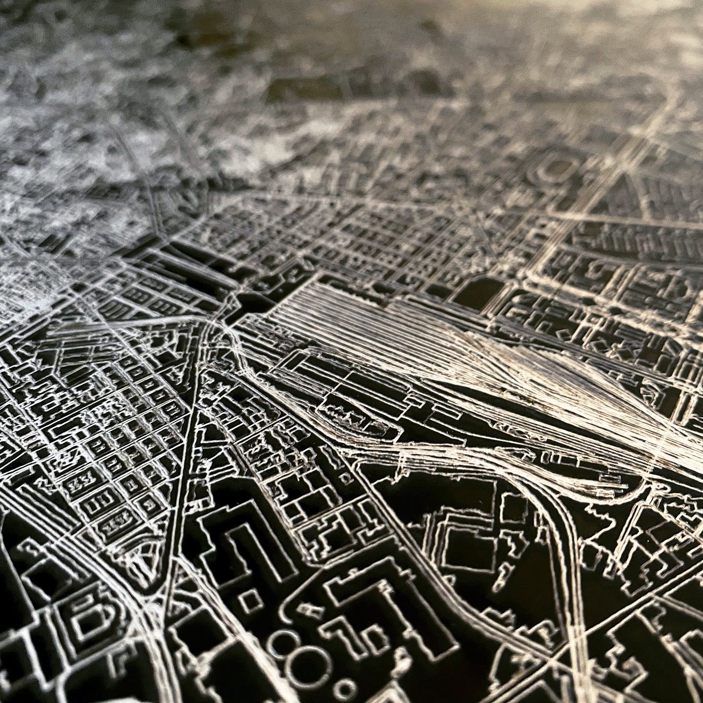 Stadtkarte Frankfurt | Aluminium Wanddekoration-5
