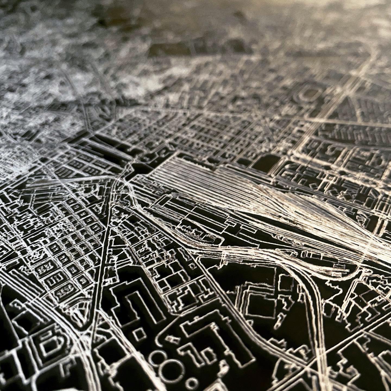 Stadtkarte Porto | Aluminium Wanddekoration-3