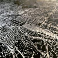 Stadtkarte Barcelona | Aluminium Wanddekoration
