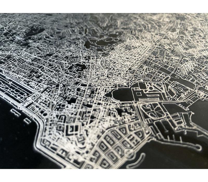 Stadtkarte Bonaire | Aluminium Wanddekoration
