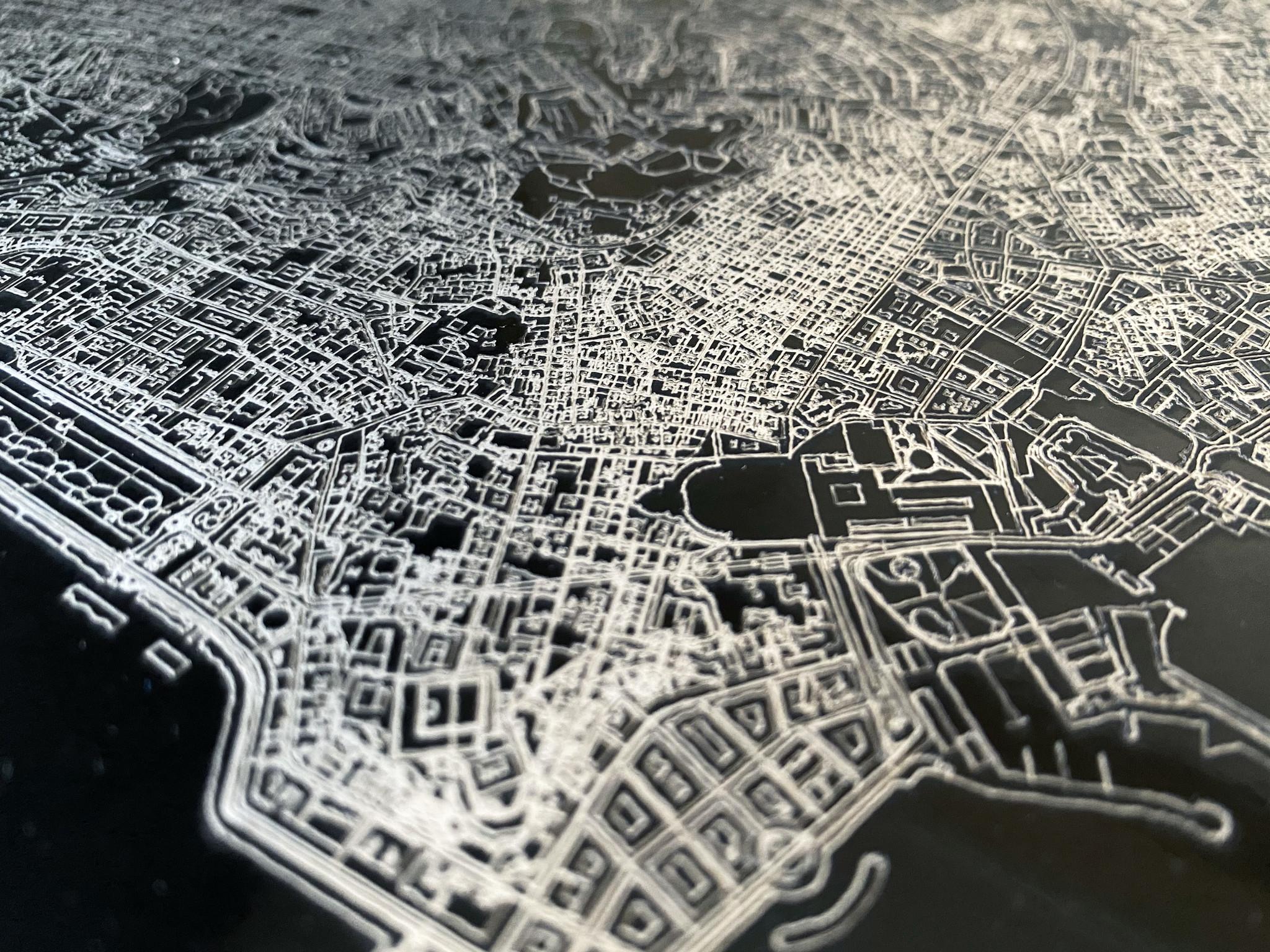 Citymap Boekarest | Aluminium wanddecoratie-4