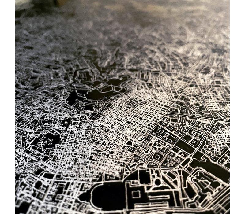 Citymap Leiden | Aluminium wanddecoratie